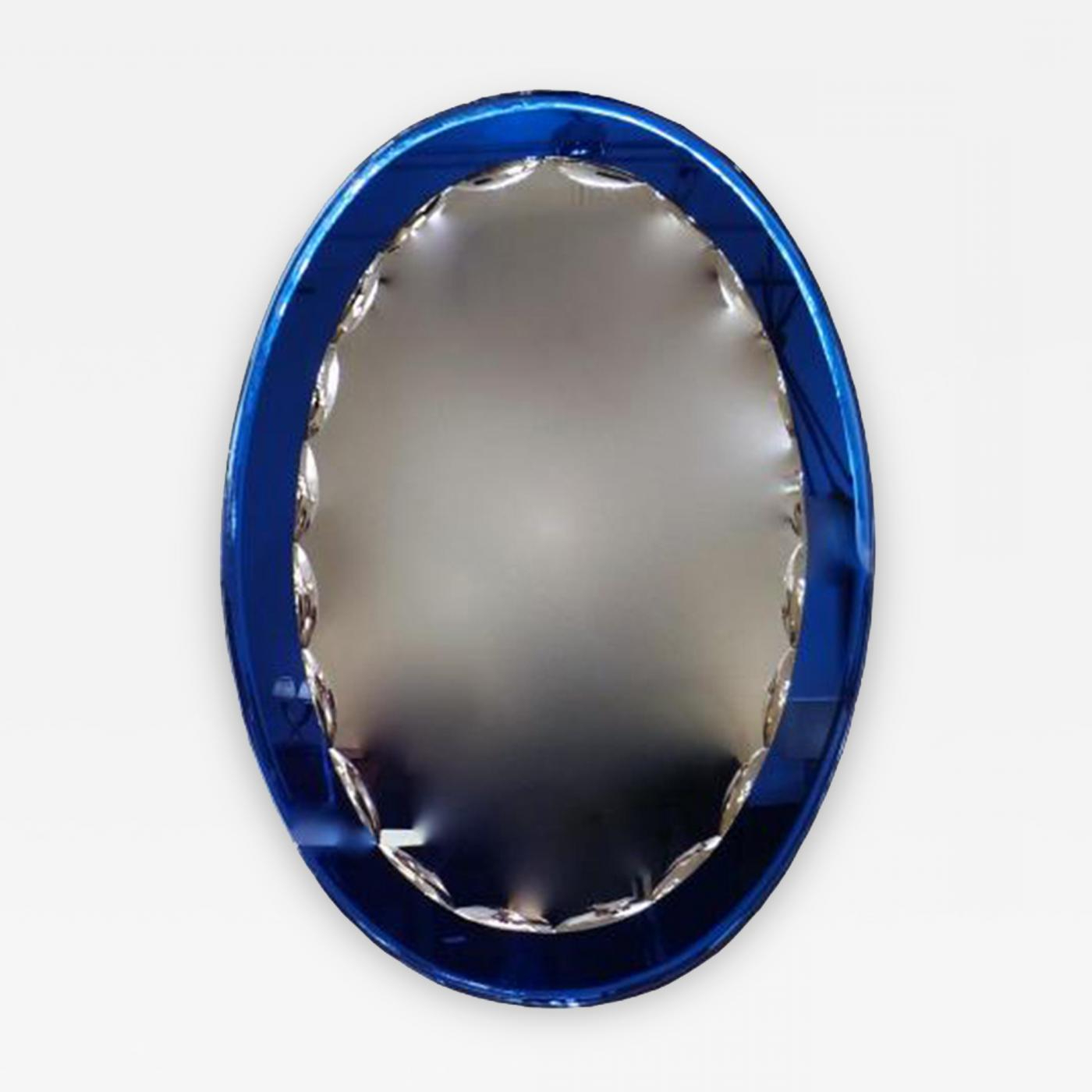 Popular Blue Framed Wall Mirrors Inside Fontana Arte – An Oval Wall Mirror With A Blue Mirrored Frame In The Style Of Fontana Arte (View 10 of 20)