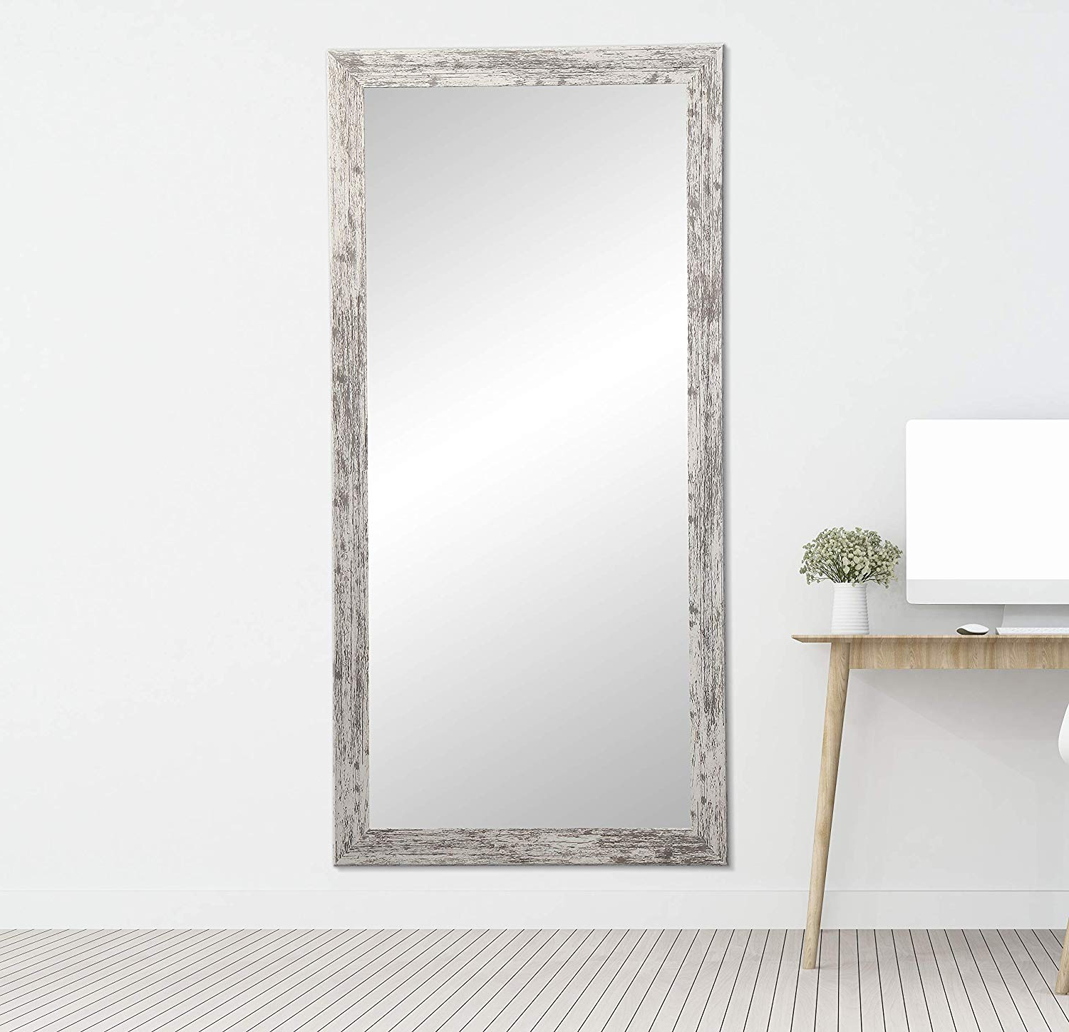 Popular Brandtworks Barn Wood Full Length Floor Vanity Wall Mirror, 32 X 71, Heavy  Distressed White/gray Throughout Floor To Wall Mirrors (View 15 of 20)