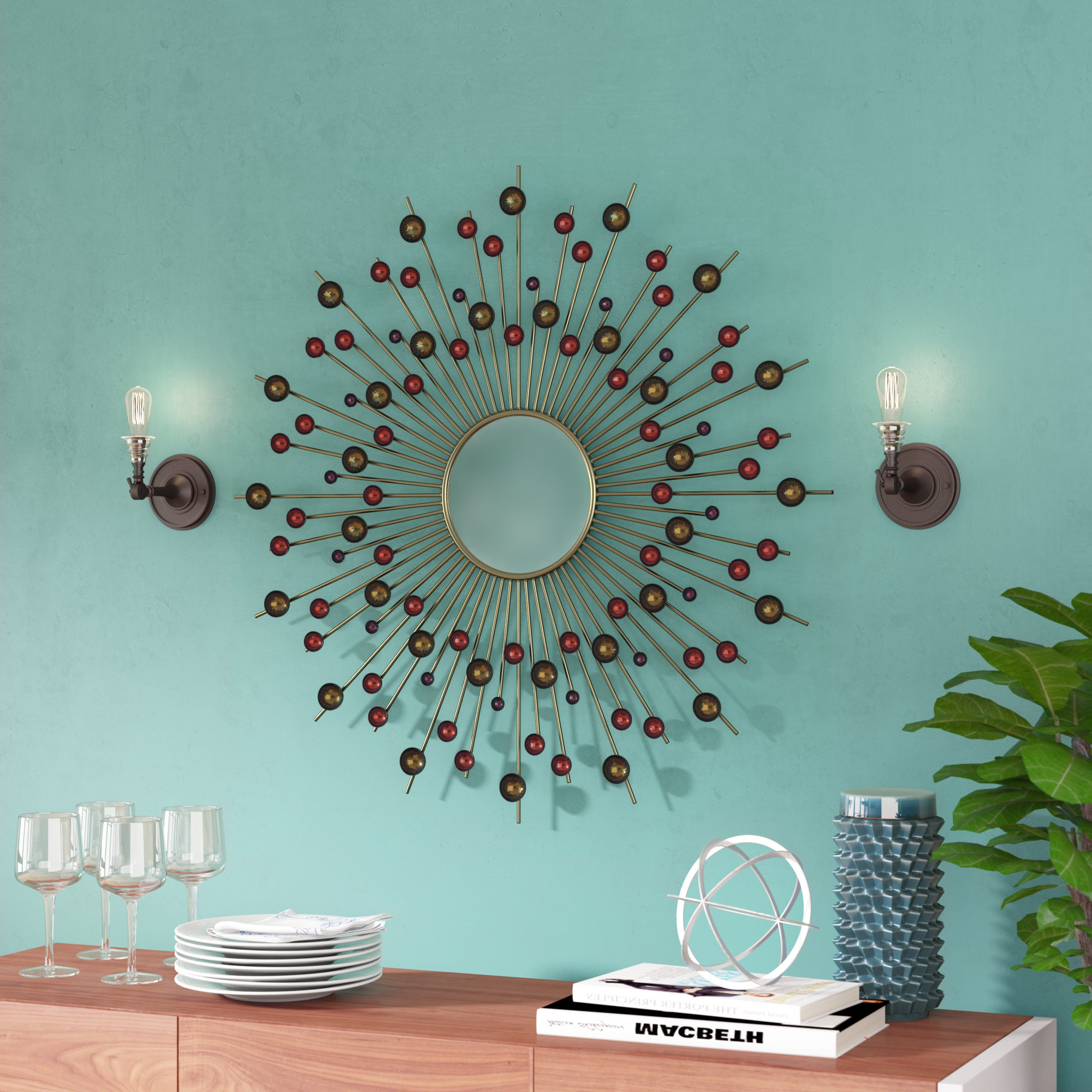 Popular Carstens Sunburst Leaves Wall Mirrors Regarding Accent Sunburst Mirrors Youll Love Wayfair Look At This (View 11 of 20)