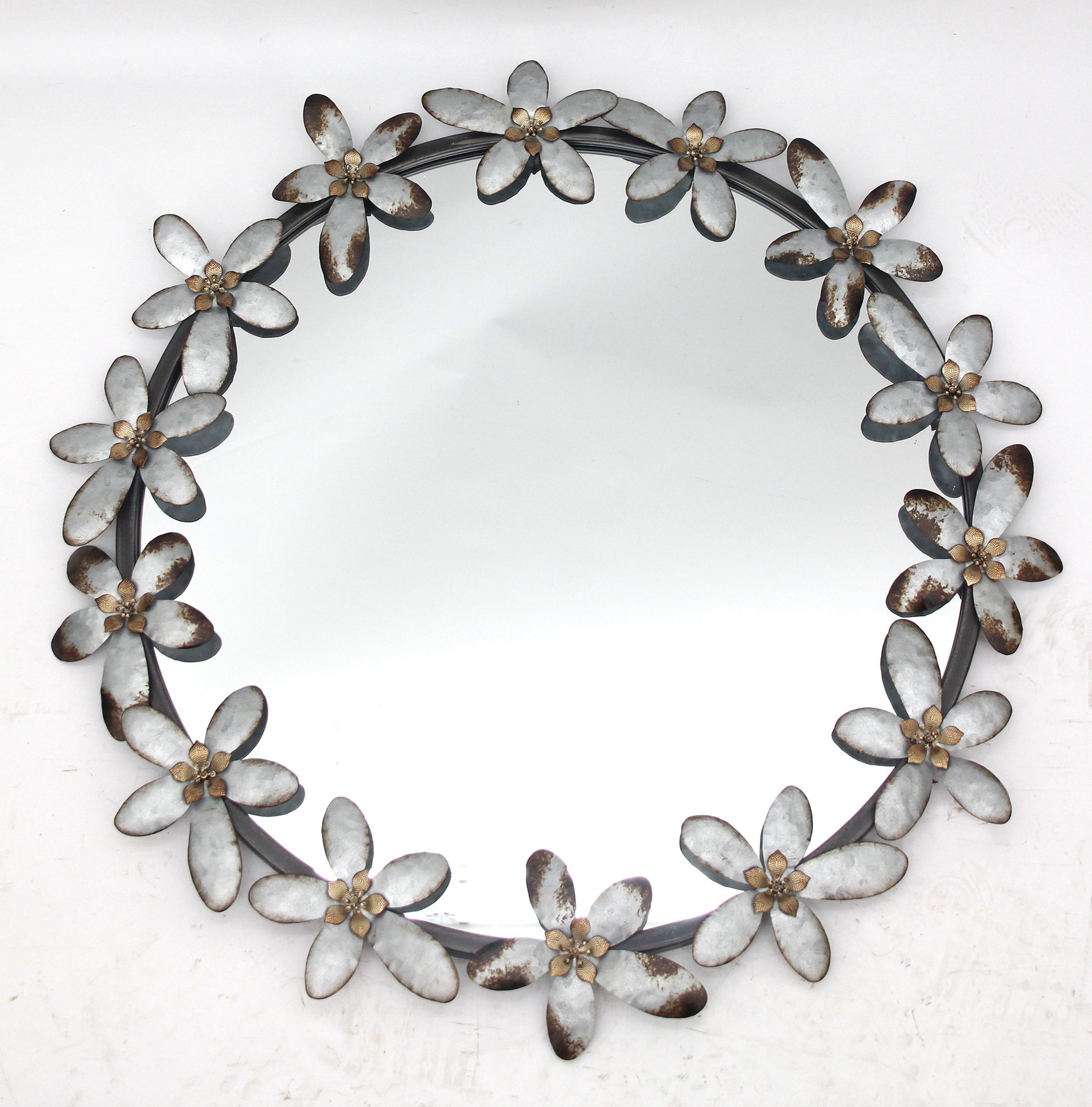 Popular Carstens Sunburst Leaves Wall Mirrors Throughout Kris Iron Accent Mirror (Gallery 17 of 20)