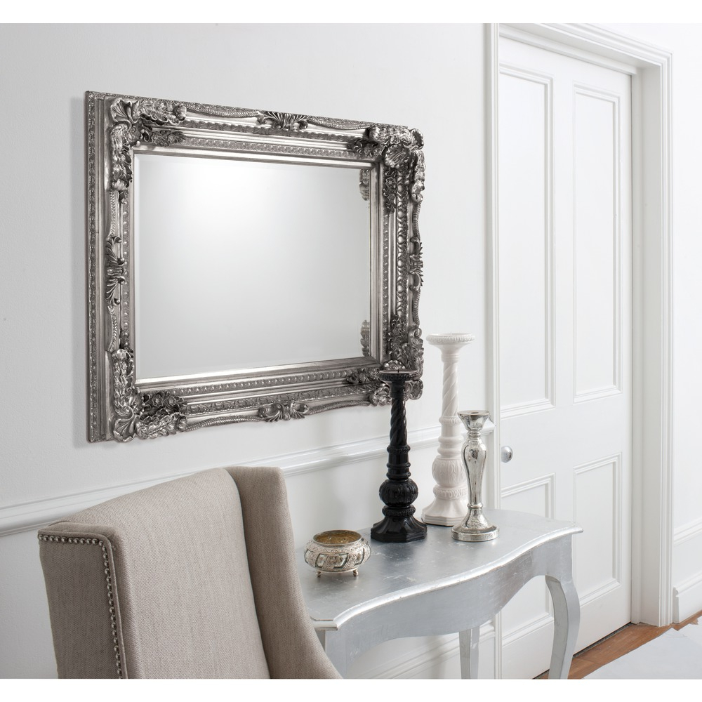 Popular Carved Louis Rectangle Wall Mirror – Silver Leaf Inside Oblong Wall Mirrors (View 2 of 20)