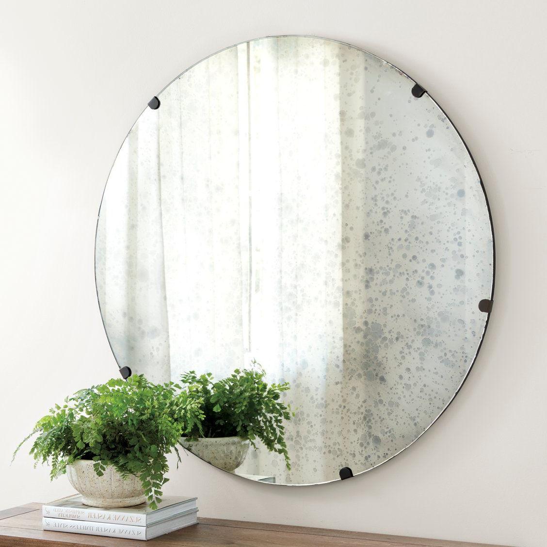 Popular Celeste Frameless Round Wall Mirrors Regarding Theron Mirror In  (View 5 of 20)