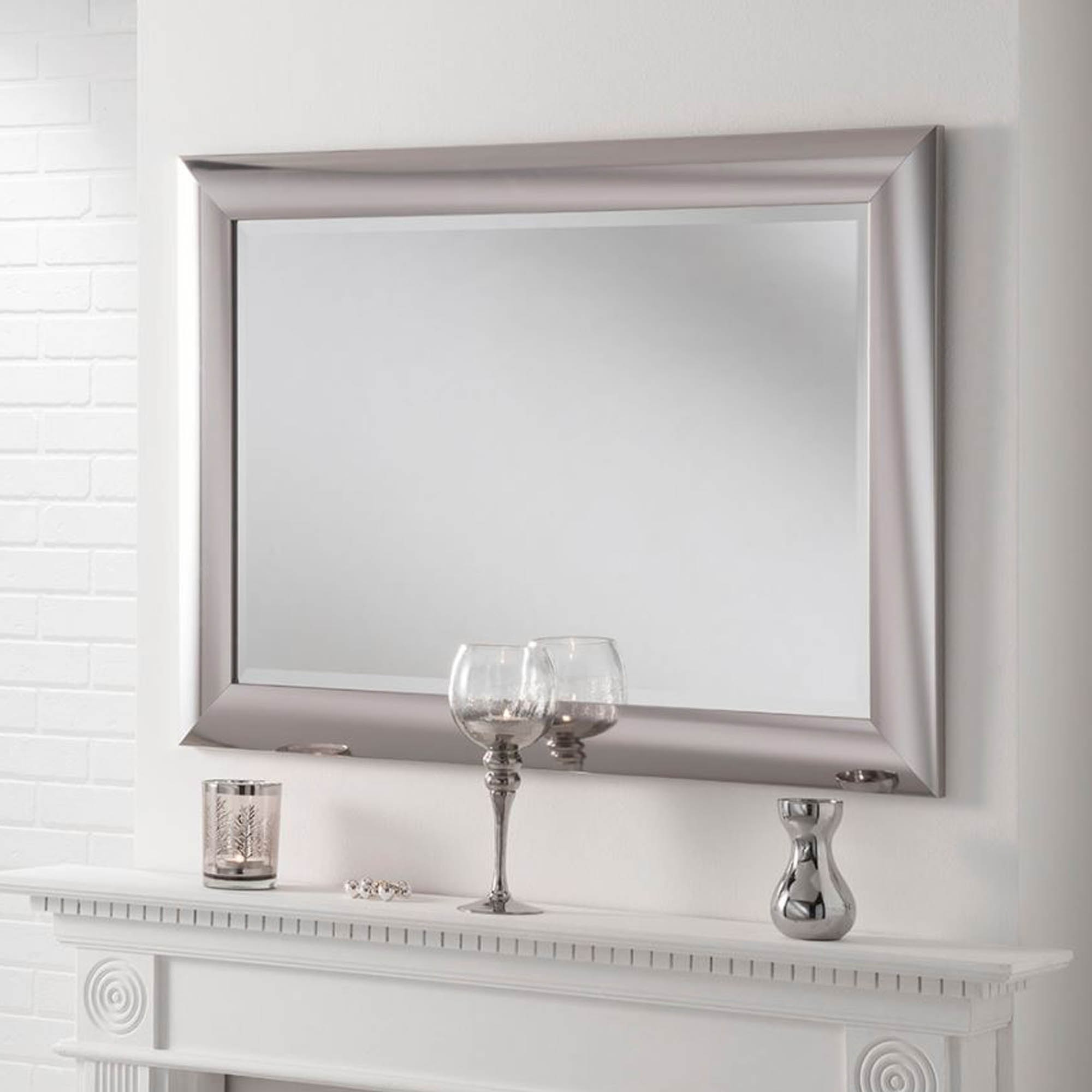 Popular Chrome Bevelled Wall Mirror Regarding Chrome Wall Mirrors (View 1 of 20)