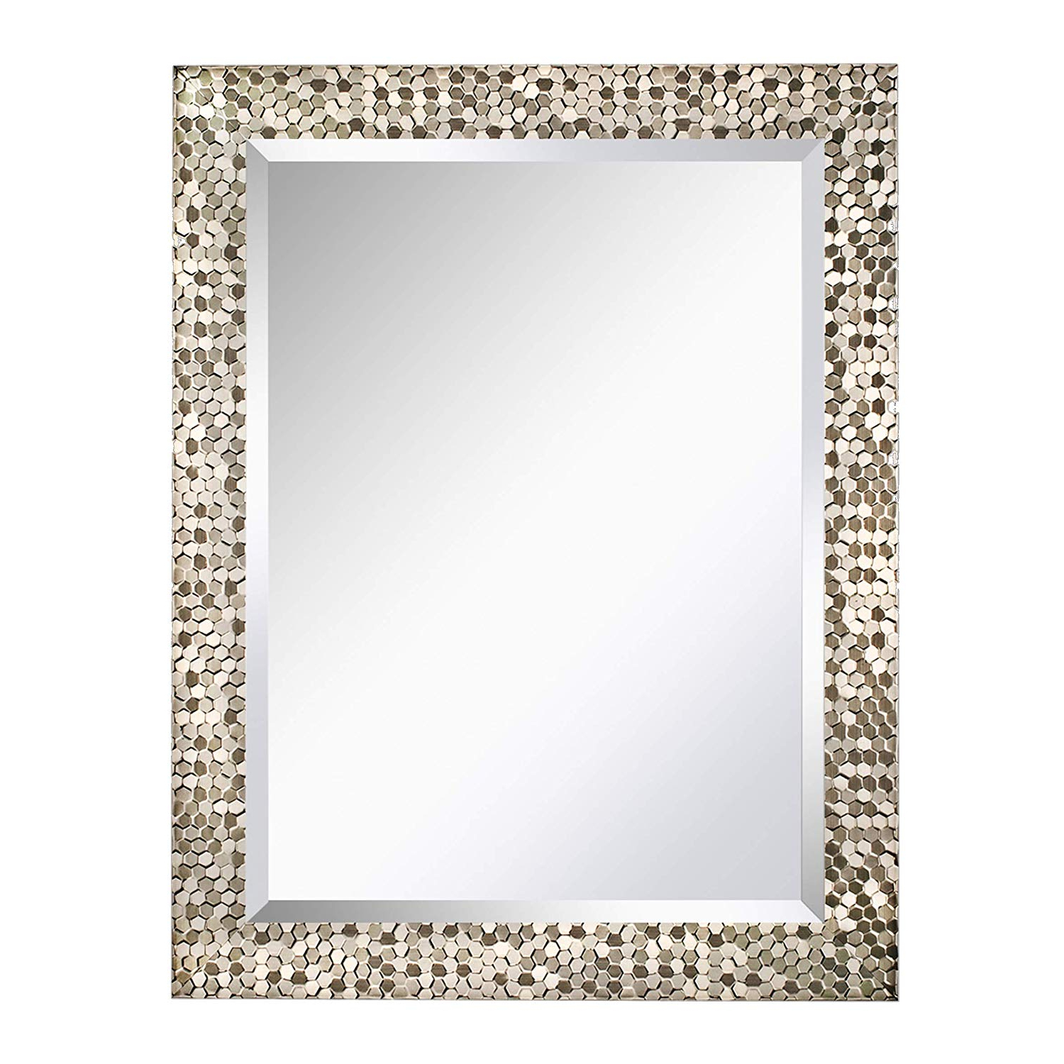 "Popular Decorative Large Wall Mirrors Throughout Mirror Trend 24"" X 32"" Square Beveled Mirrors For Wall Mirrors For Living  Room Large Bathroom Mirrors Wall Mounted Mosaic Design Mirror For Wall (View 14 of 20)"