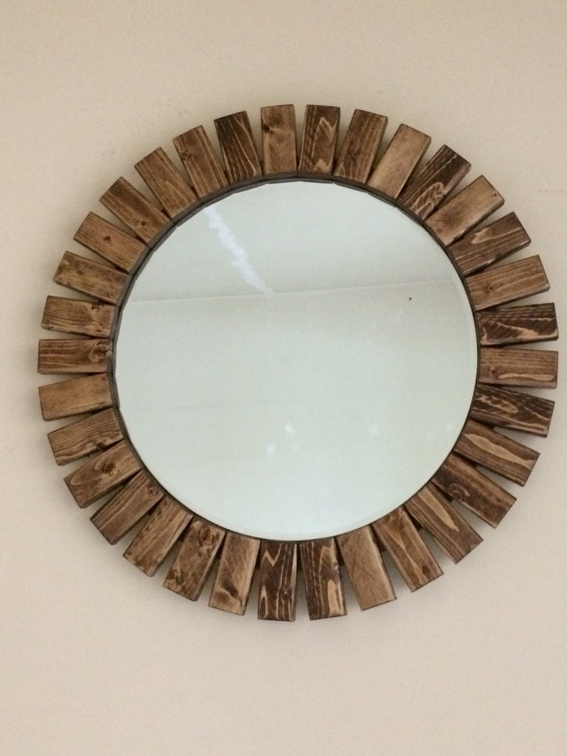 "Popular Deniece Sunburst Round Wall Mirrors For Round Wall Mirror Wooden Sunburst Special Walnut Color 22"" (View 16 of 20)"