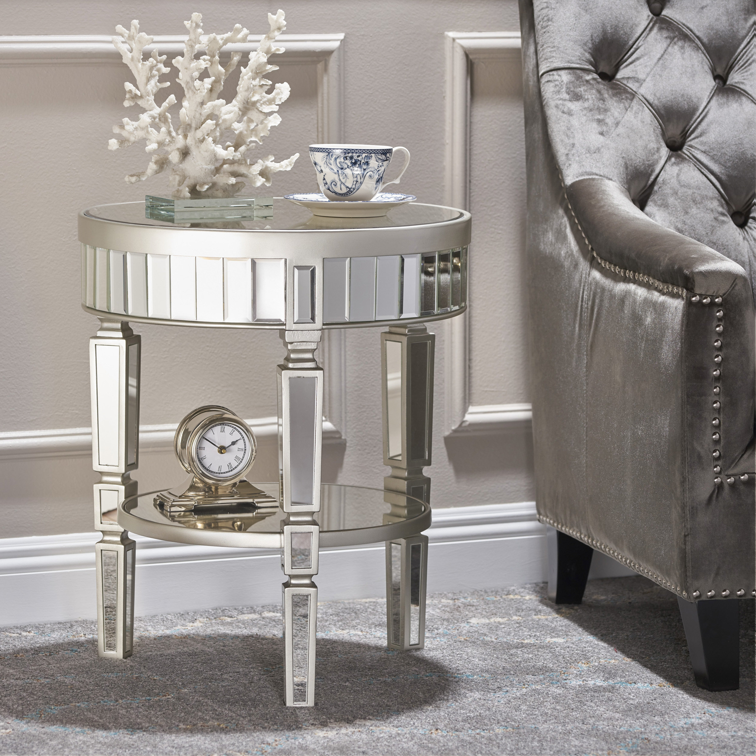 Popular Diamondville Modern & Contemporary Distressed Accent Mirrors In Lemmon Mirrored End Table (View 11 of 20)