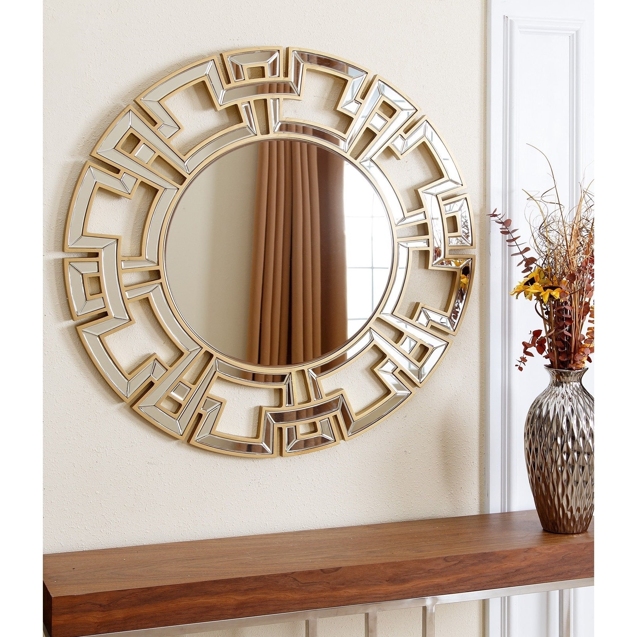 Popular Entryway Wall Mirrors Throughout Details About Abbyson Wall Mirror Accent Gold Wood Round Crafted Entryway  Mounted Geometric (View 16 of 20)