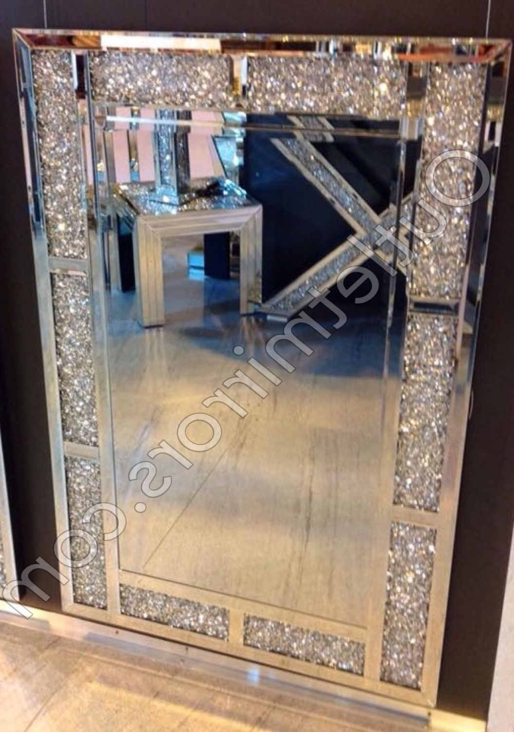 Popular Glitter Wall Mirrors Inside New Diamond Crush Sparkle Bricks Crystal Wall Mirror 120Cm X (View 19 of 20)