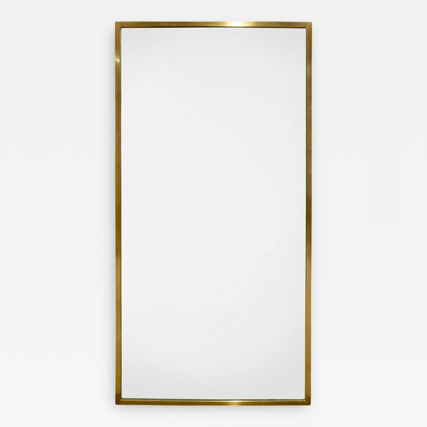 Popular Harvey Probber Large Rectangular Mirror With Brass Frame 1950s Inside Long Rectangular Wall Mirrors (View 15 of 20)