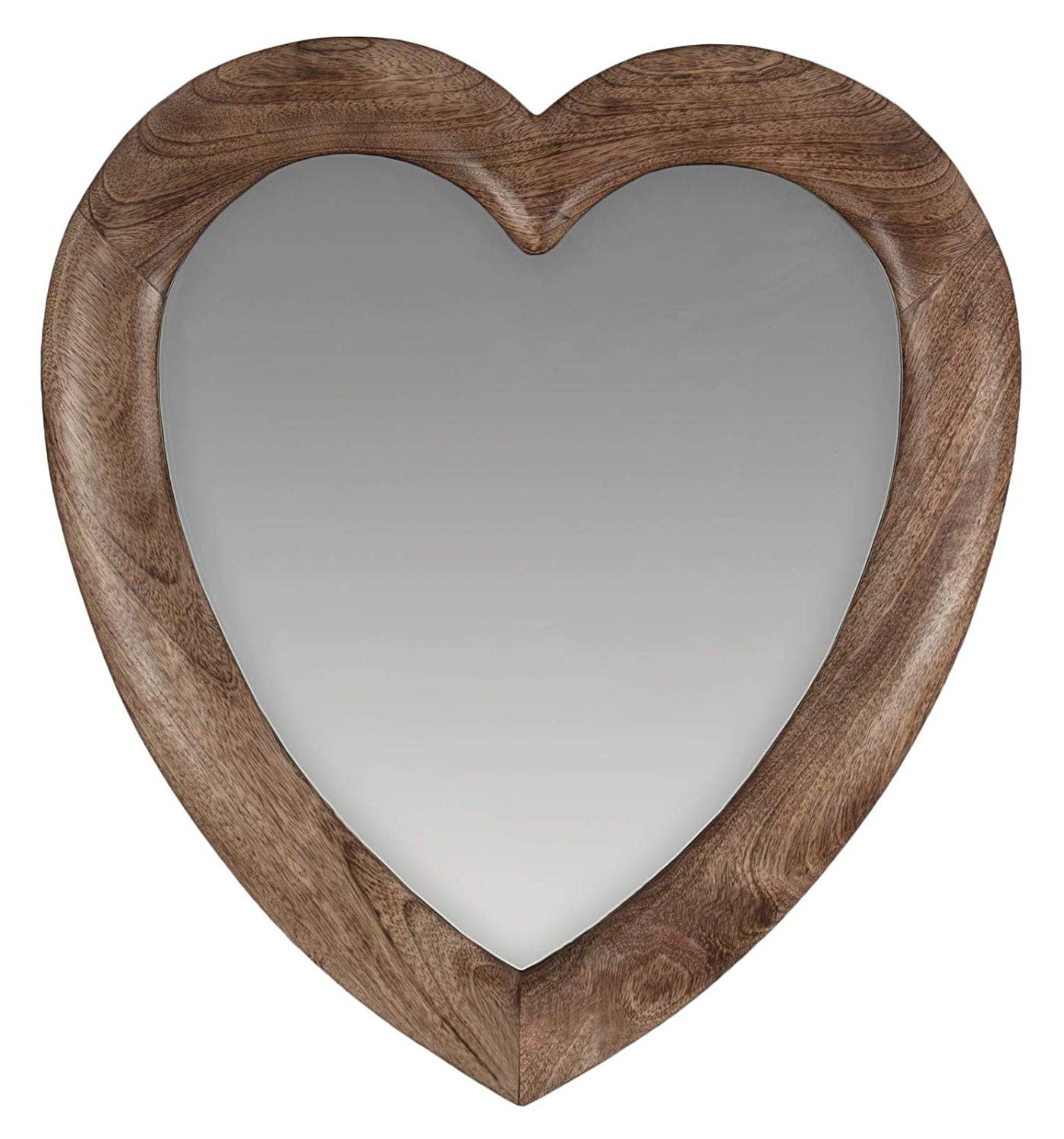 Popular Heart Wall Mirrors In Once A Tree Love Heart Wall Mirror Mango Wood 58Cm X 52Cm: Amazon (View 10 of 20)
