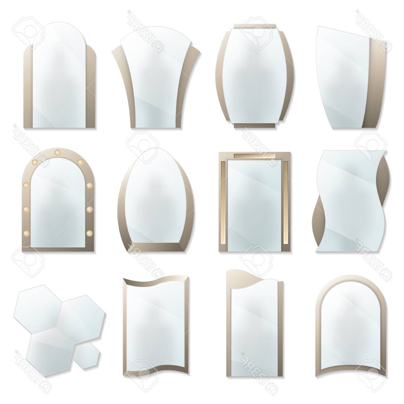 Popular Home Decorative Wall Mirrors Icon Set. Different Realistic Mirrors. (View 18 of 20)