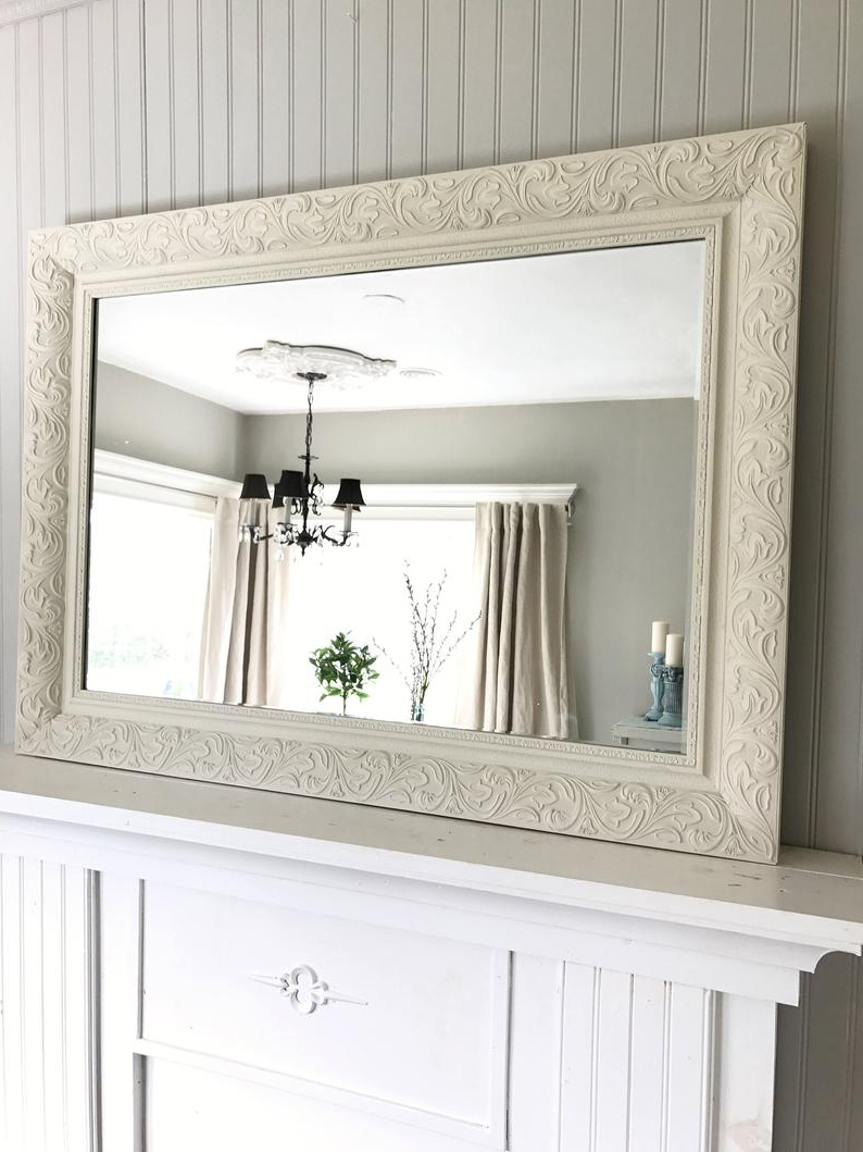 Popular Ivory Shabby Chic Mirror, Leaning Mirror In Leaning Mirrors (View 17 of 20)