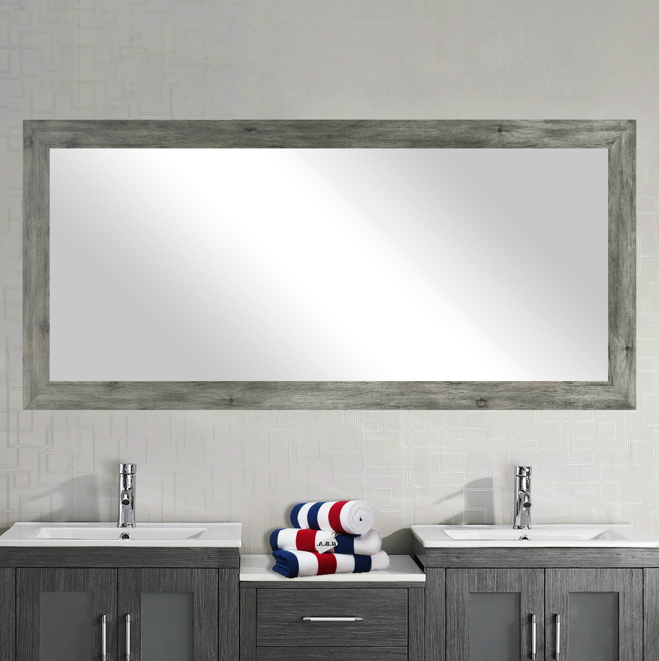 Featured Photo of Landover Rustic Distressed Bathroom/vanity Mirrors