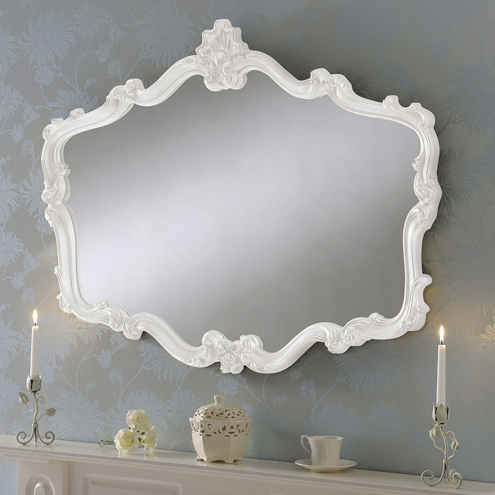 Popular Large Decorative Wall Mirrors Within Crested Shaped Large Decorative Wall Mirror: White (View 10 of 20)