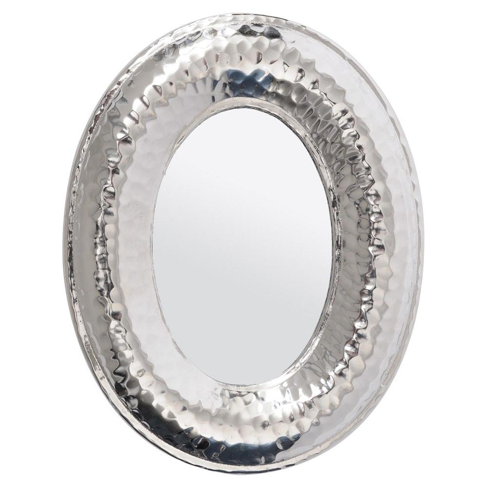 Popular Luna Accent Mirrors Within Libra Luna Hammered Silver Aluminium Oval Mini Mirror (View 19 of 20)