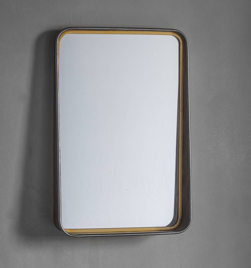 Popular Metal And Gold Wall Mirror With Shelf In Metal Wall Mirrors (Gallery 1 of 20)
