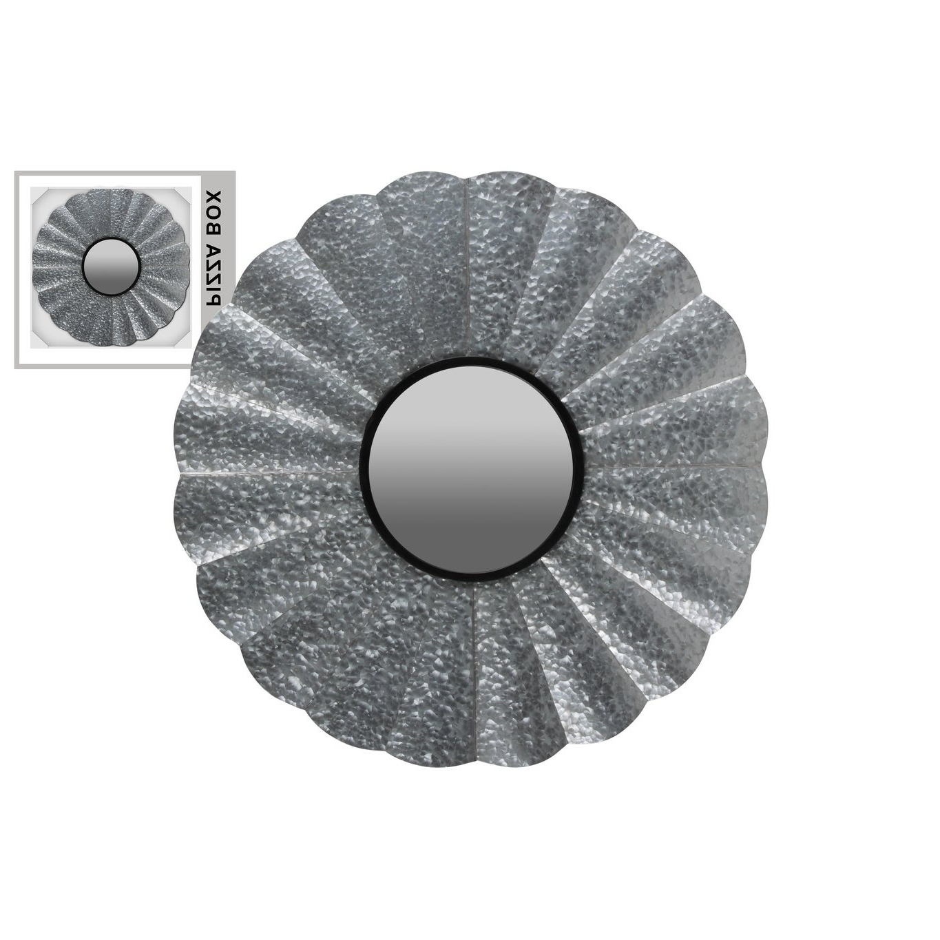 Popular Metal Round Wall Mirror Galvanized Finish Gray – Silver – N/a Within Round Galvanized Metallic Wall Mirrors (View 17 of 20)