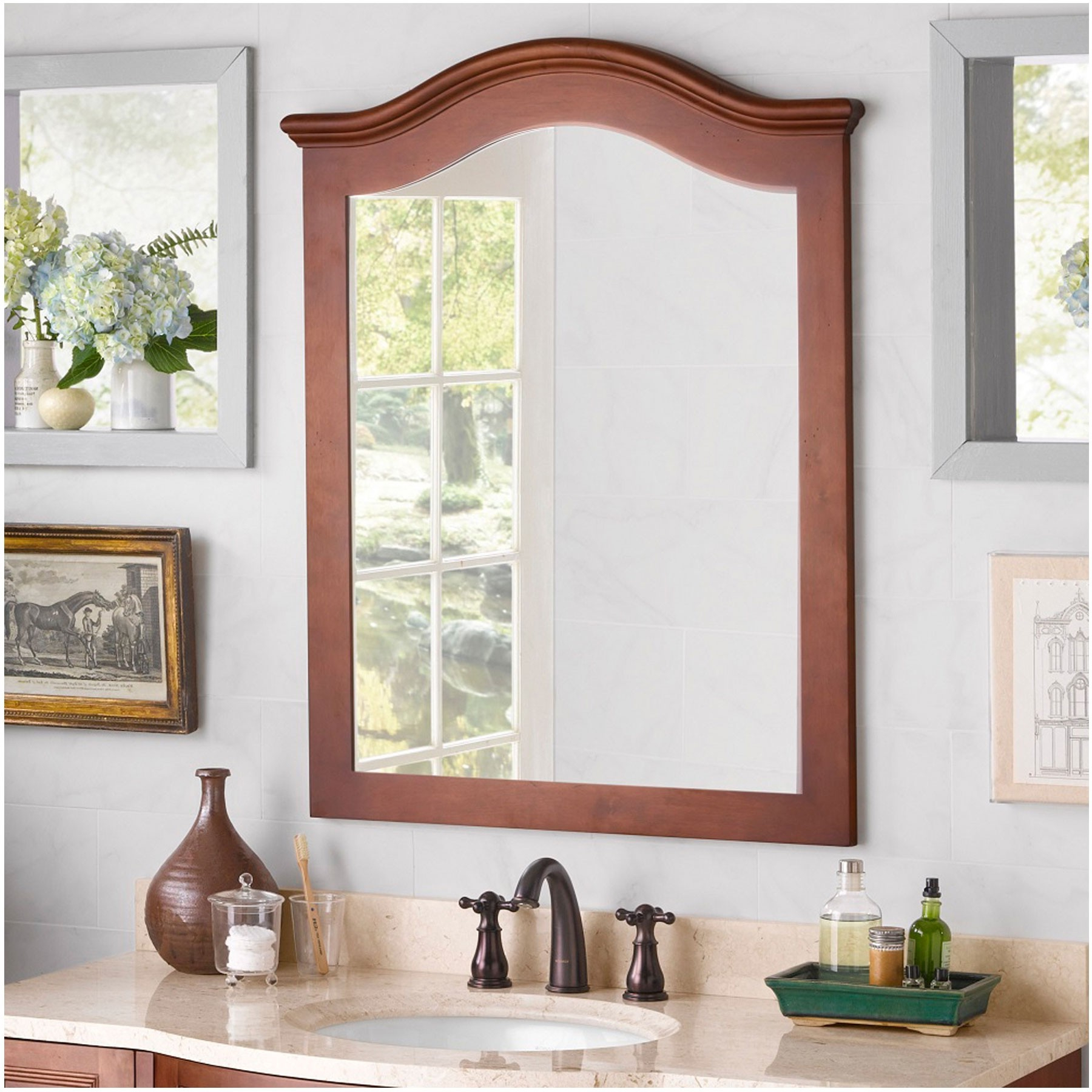 """Popular Nancy 30"""" W X 38"""" H Wood Framed Rectangle Wall Mirror, Cherry Americana Pertaining To Cherry Wood Framed Wall Mirrors (View 15 of 20)"""