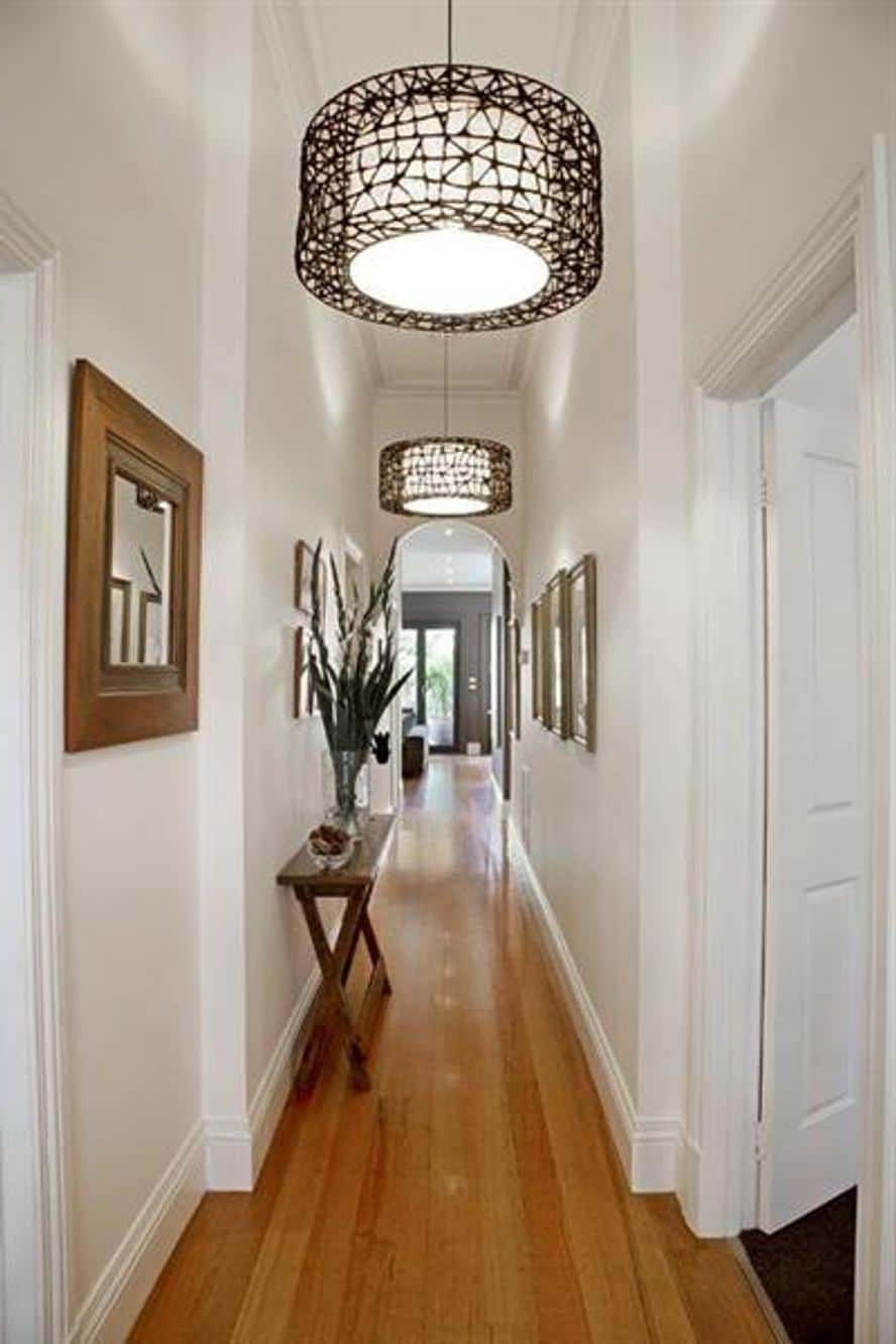 Popular Narrow Hallway With Wall Mirrors And Hanging Lighting – Decorating In Narrow Wall Mirrors (View 16 of 20)