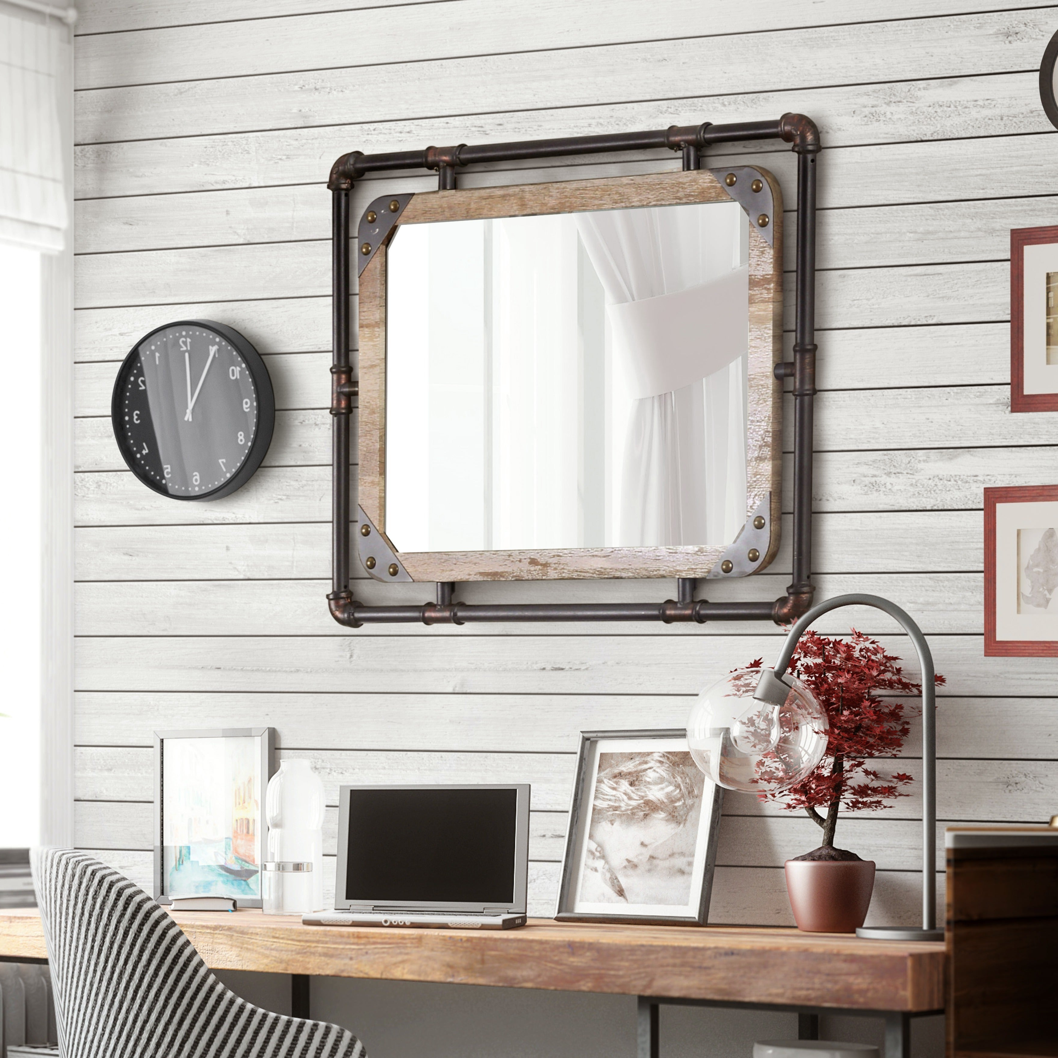 Popular Oak Framed Wall Mirrors Intended For Furniture Of America Revo Industrial Distressed Wall Mirror (View 20 of 20)