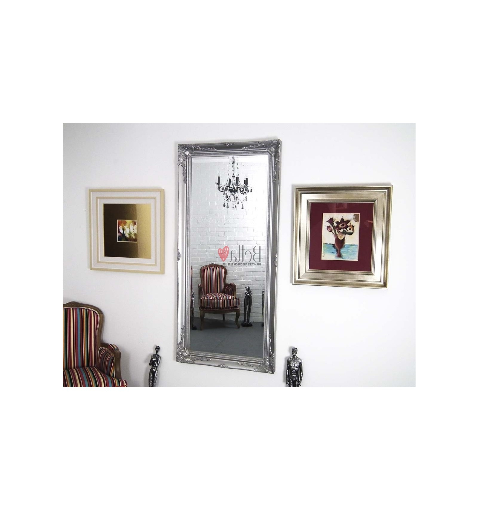 Popular Ornate Full Length Wall Mirrors Inside Antique Silver Ornate Wall Mirror (View 18 of 20)