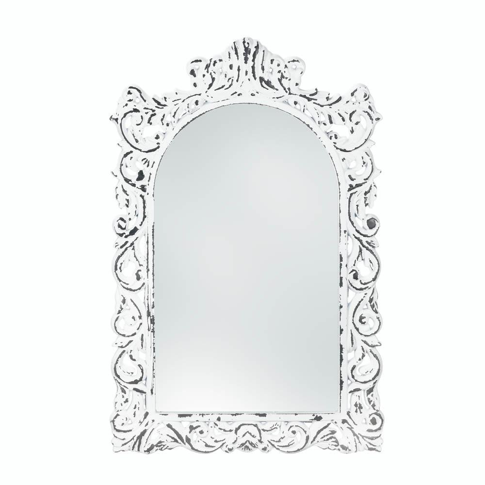 Popular Ornate Wall Mirrors Pertaining To Bathroom Wall Mirrors, Framed Cool Modern Rustic Etched White Ornate Wall  Mirror (View 6 of 20)