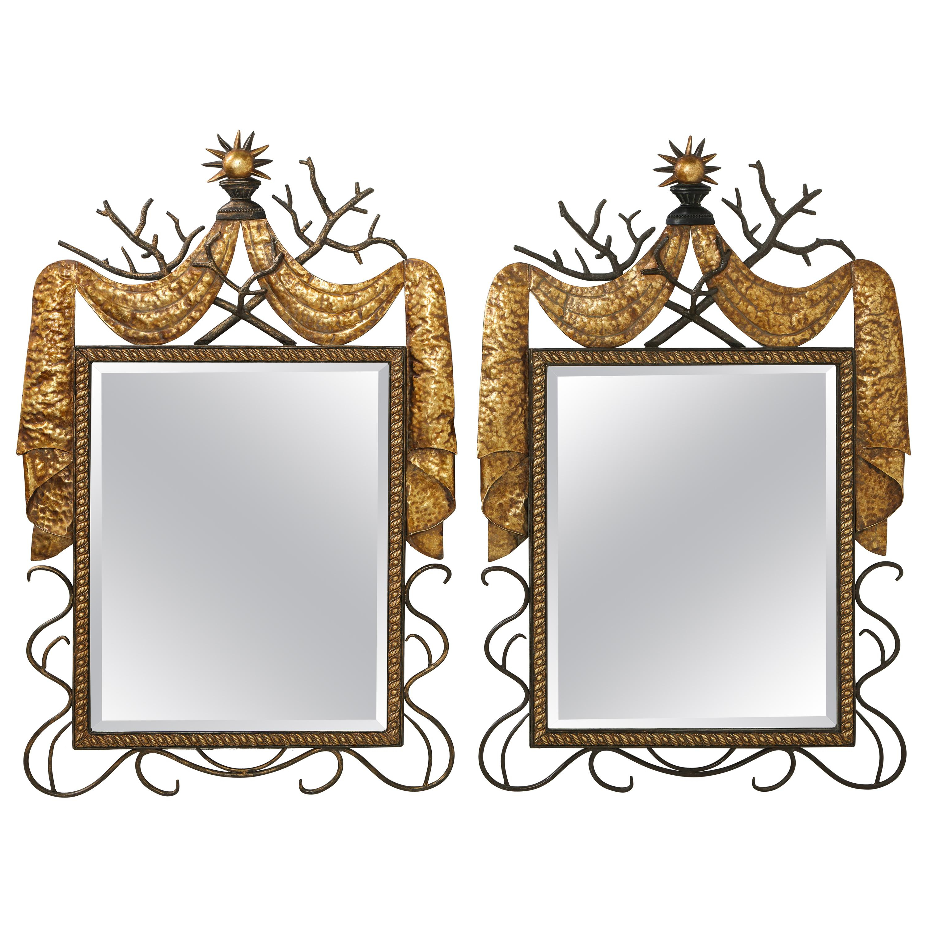 Popular Pair Of Gilbert Poillerat Style Parcel Gilt And Black Iron Wall Mirrors Inside Gilbert Wall Mirrors (View 5 of 20)