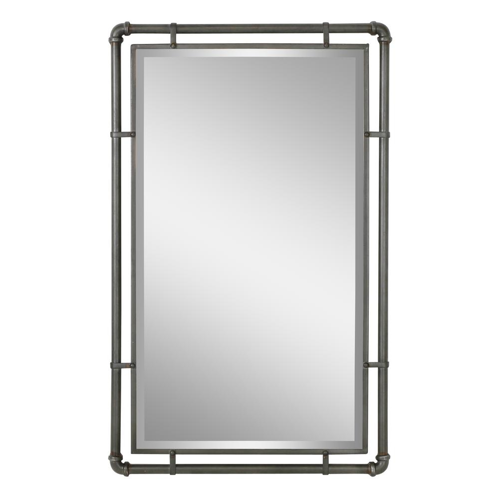 Popular Rectangle Antique Galvanized Metal Accent Mirrors Regarding Aspire Home Accents Morse Industrial Metal Wall Mirror 4882 – The (View 11 of 20)