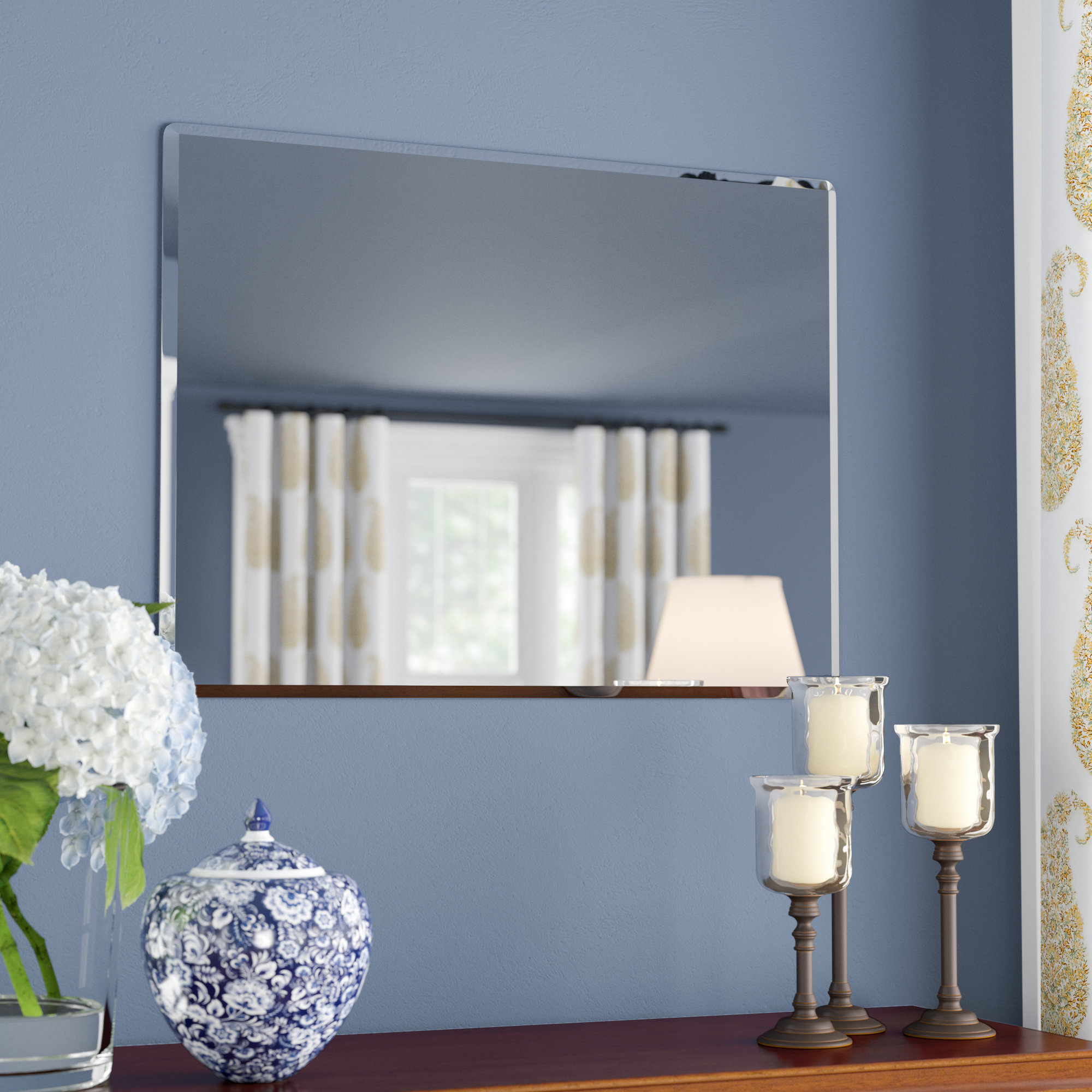 Popular Rectangle Metal Frameless Wall Mirror With Wall Mirrors For Living Room (View 4 of 20)