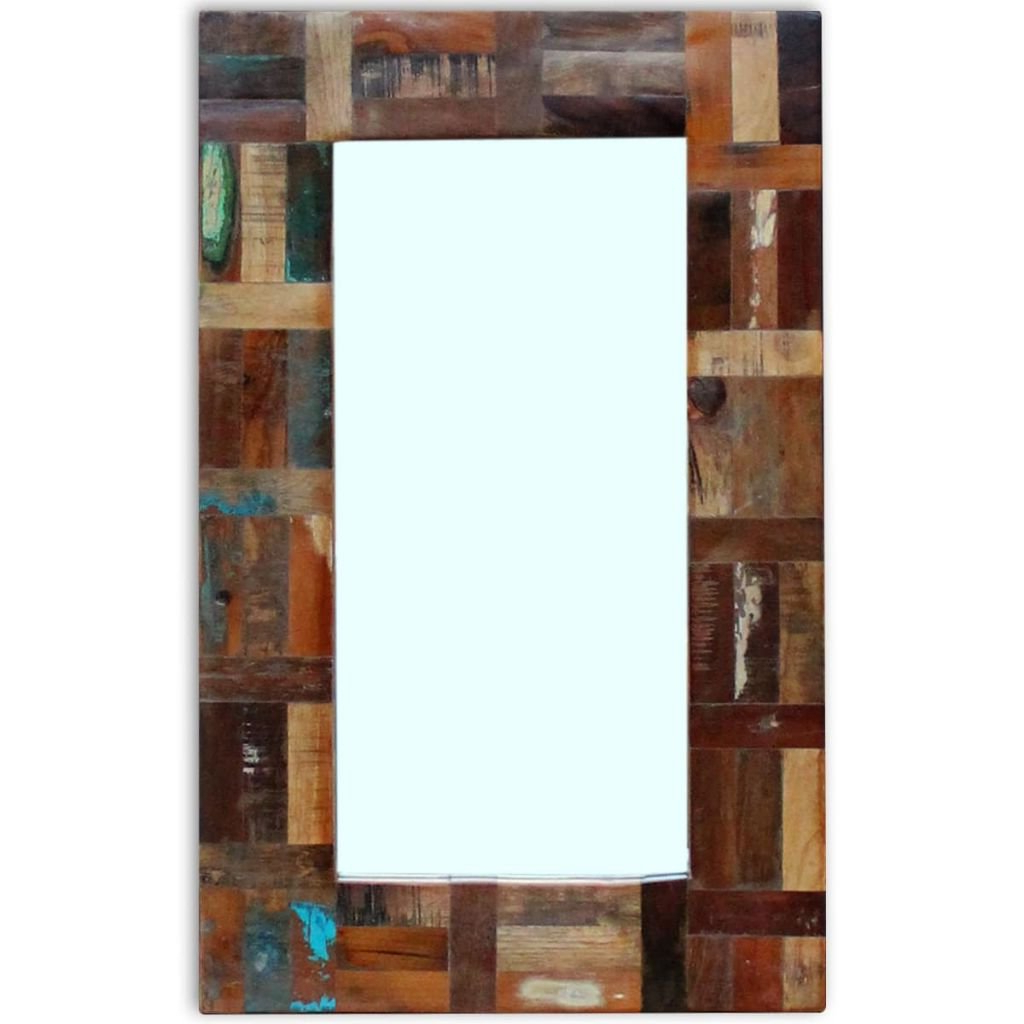 Popular Retro Wall Mirrors Intended For Festnight Retro Wall Mirror Reclaimed Wood Frame Bedroom Mirror Bathroom Vanity Glass Mirror Entrance Hall Living Room Home Decor Furniture (View 15 of 20)