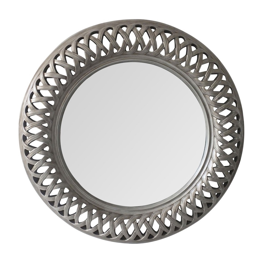Popular Round Silver Wall Mirrors With Regard To Tessere Antique Silver Wall Mirror (View 10 of 20)