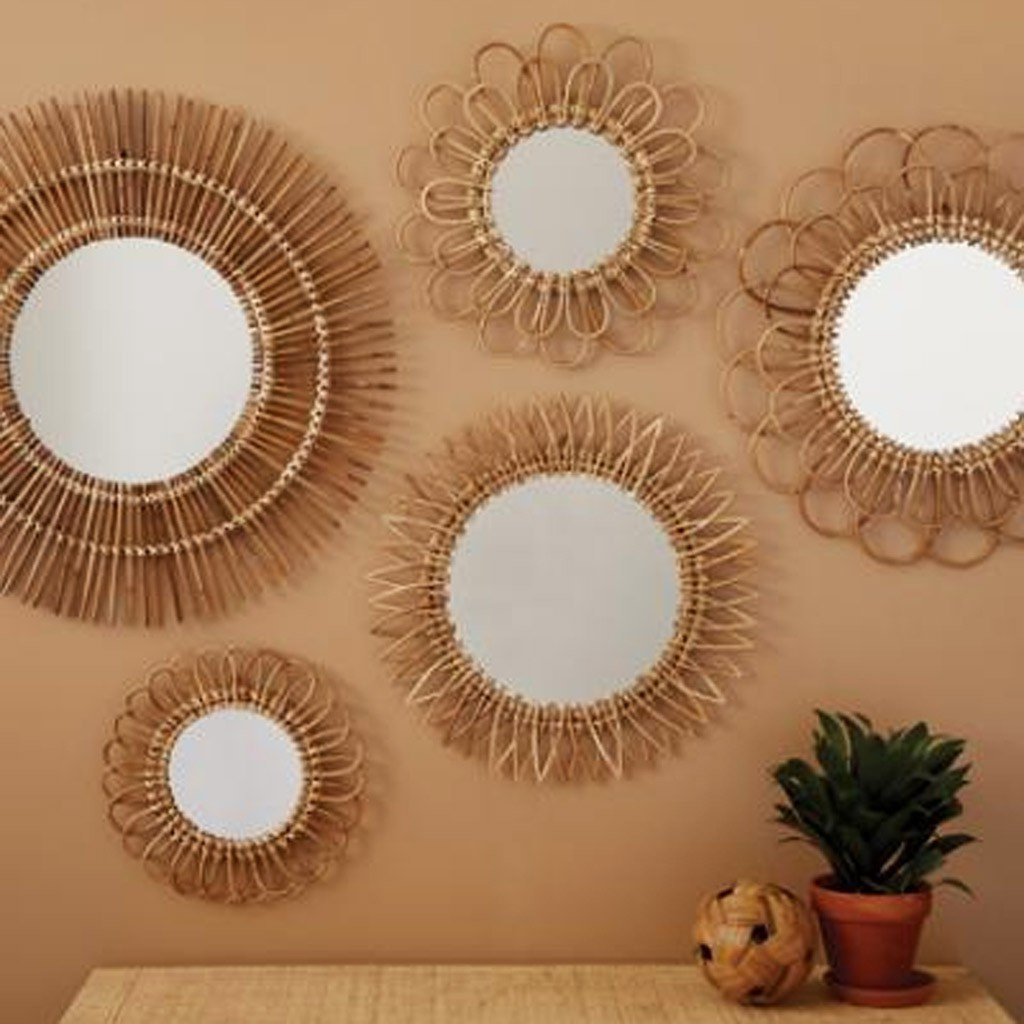 Popular Sunburst Wall Mirrors With Natural Rattan Sunburst Wall Mirror (View 17 of 20)
