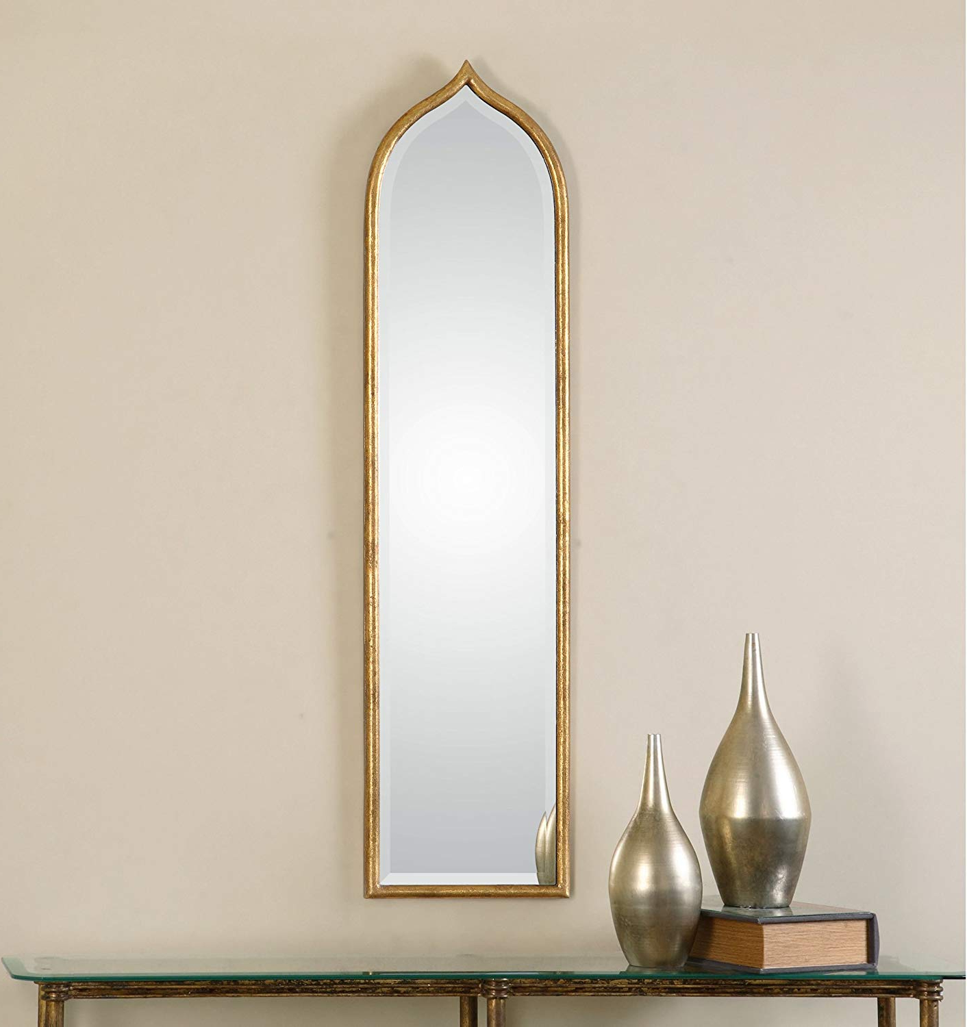 Popular Tall Slim Gold Wall Mirror – Thin Frame: Amazon.co (View 8 of 20)
