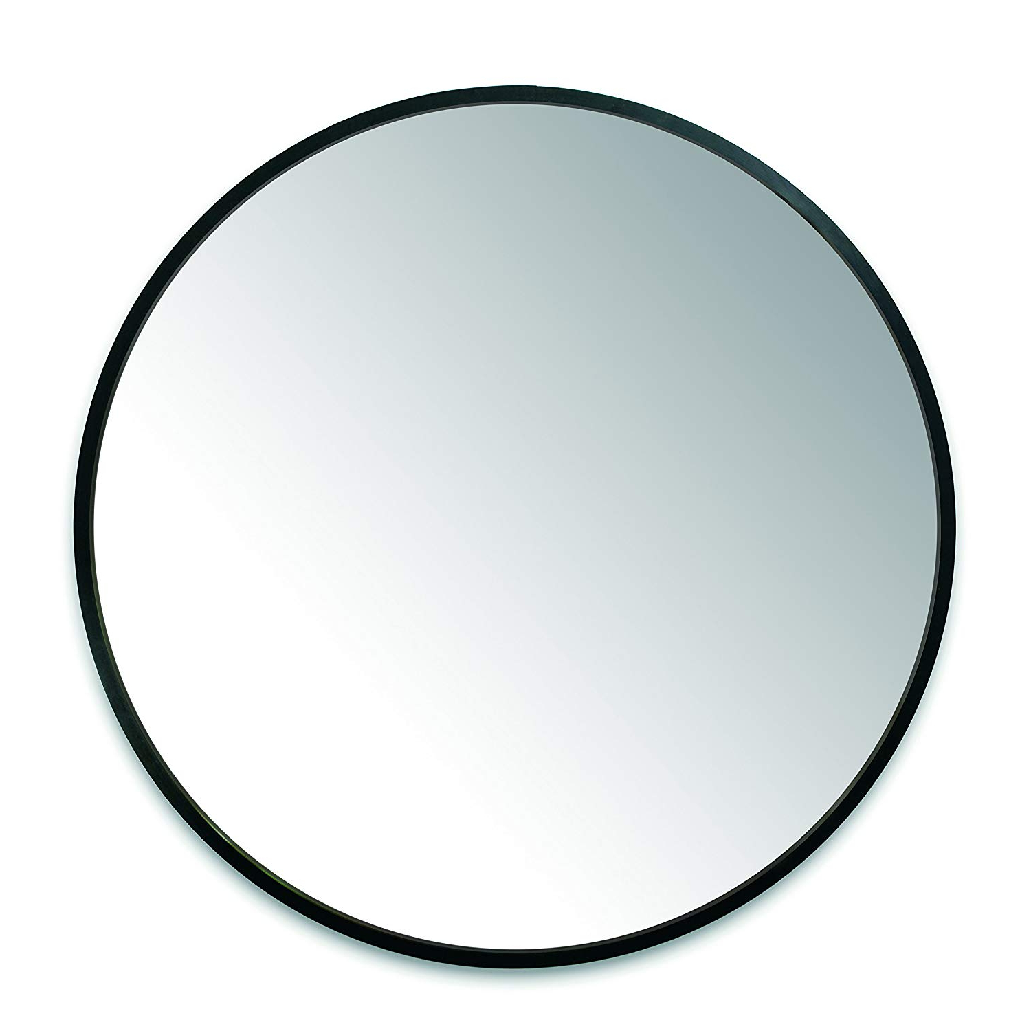 Popular Umbra Hub Wall Mirror With Rubber Frame – 37 Inch Round Wall Mirror For Entryways, Washrooms, Living Rooms And More, Doubles As Modern Wall Art, Black Throughout Round Black Wall Mirrors (View 9 of 20)