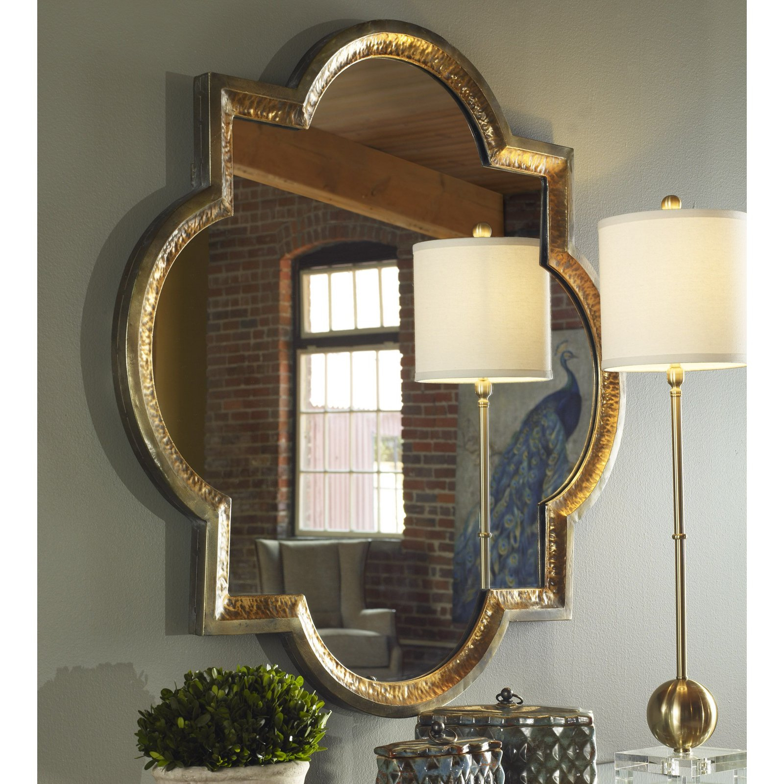 Popular Uttermost Wall Mirrors Regarding Uttermost Lourosa Gold Mirror – 39.75W X 39.75H In (View 11 of 20)