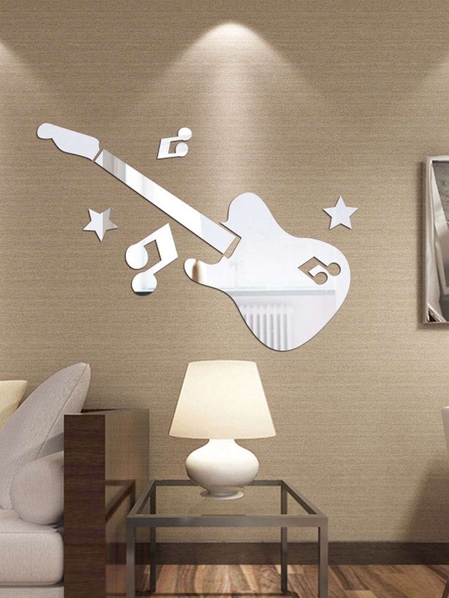 Popular Wall Mirror Sticker Cute Solid Violin Shaped Home Wall Decorative Sticker Pertaining To Wall Mirror Stickers (View 17 of 20)