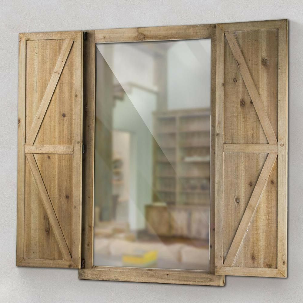 Popular Wall Mirror W/shutters Rustic Wooden Frame Metal Latch & Hinges, Farmhouse  Decor Within Wall Mirrors With Shutters (View 5 of 20)