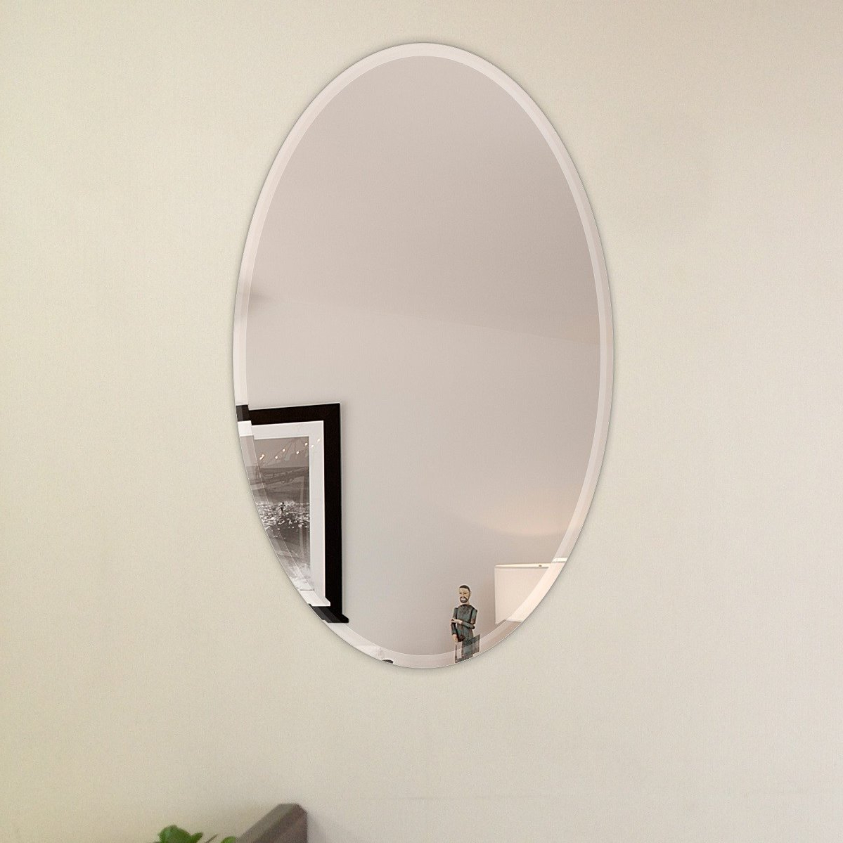 Popular Wall Mirrors With Hooks In Oval Beveled Polish Frameless Wall Mirror With Hooks (View 9 of 20)