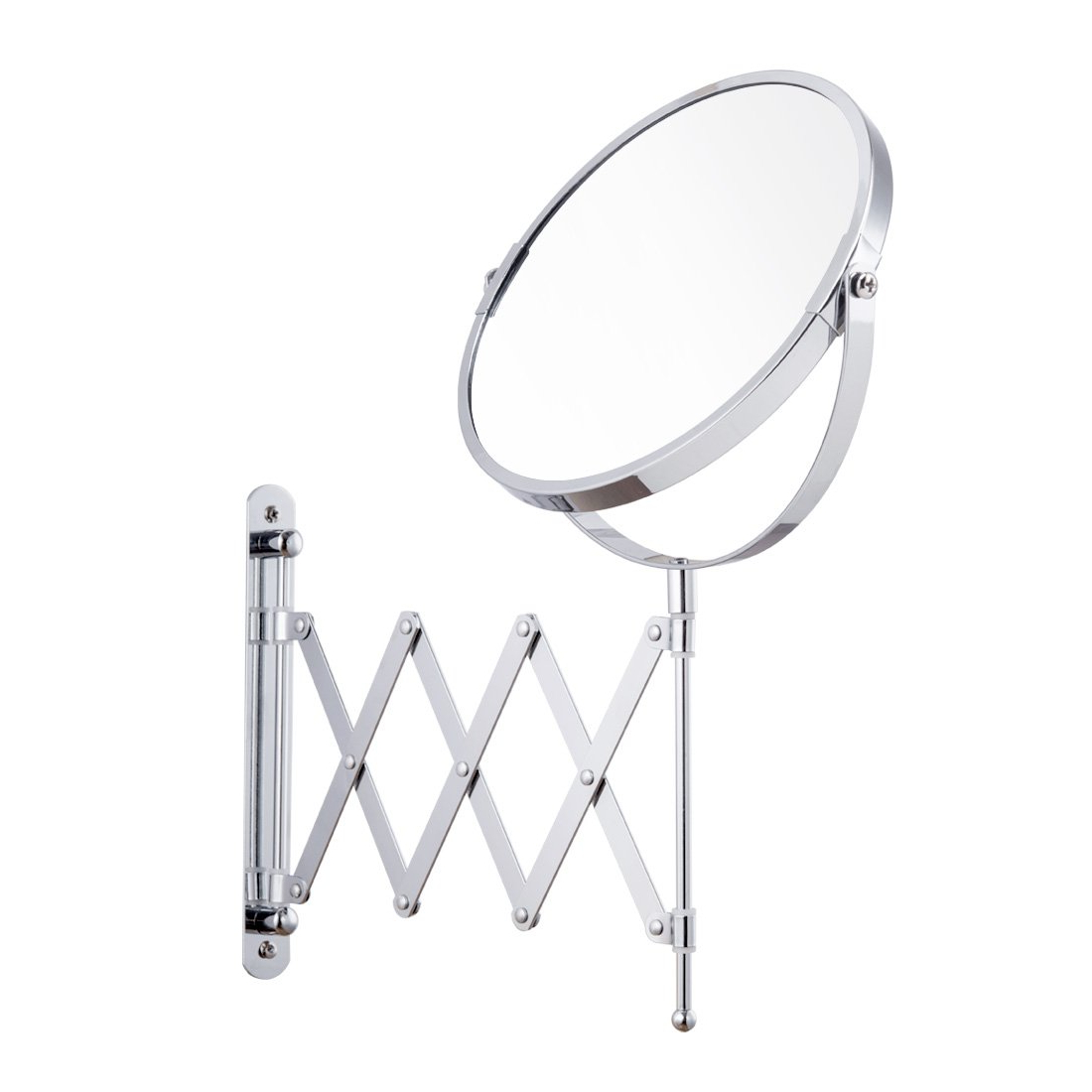 Preferred Accordion Wall Mirrors In Firmloc Wall Mounted Magnification Makeup Mirror 1X/5X Vanity Double Side Extendable Accordion (View 11 of 20)