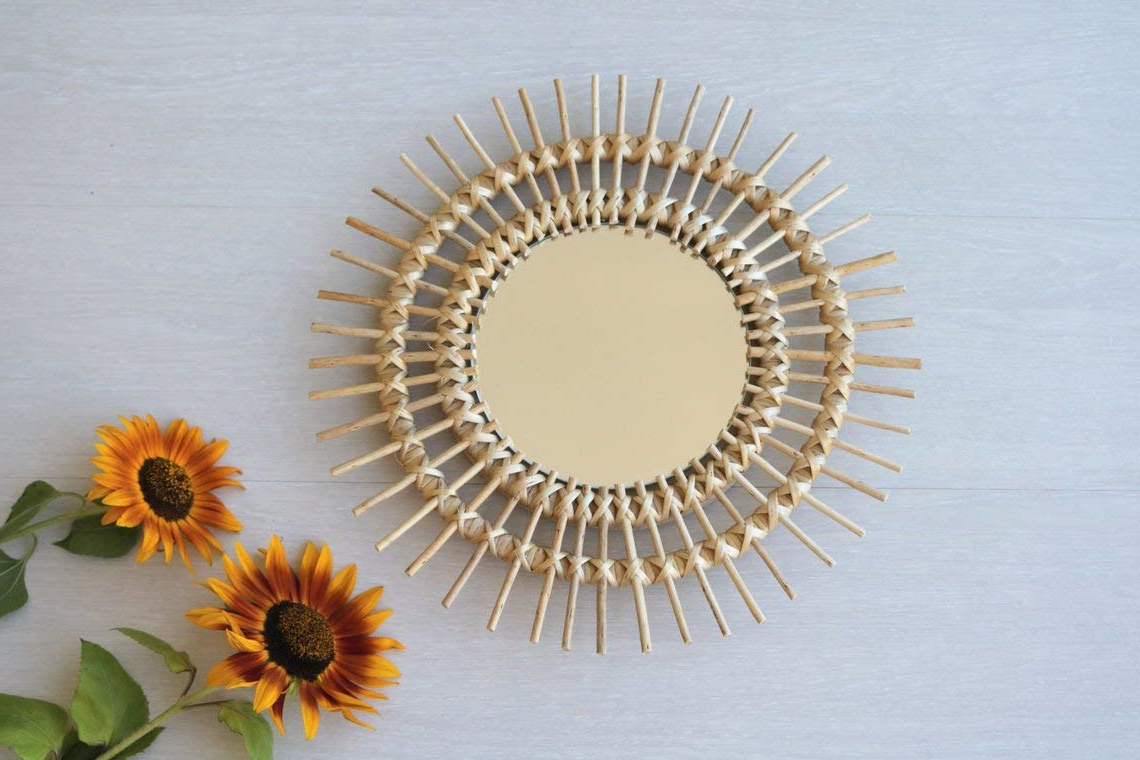 Preferred Amazon: Wicker Mirror, Sunburst Wall Mirror, Round Mirror, Room Throughout Soleil Wall Mirrors (View 14 of 20)