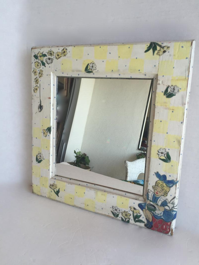 Preferred Baby Wall Mirrors For Rustic Nursery Rhyme Mirror Baby Wall Mirror Painted Framed Mirror Square Mercury Glass Hanging Mirror Antique Rustic Children's Wall Mirror (View 4 of 20)