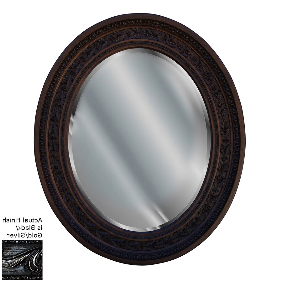 Preferred Black Oval Wall Mirrors Pertaining To Hickory Manor House Antique Leaf Black/gold/silver Beveled Oval Wall (View 11 of 20)