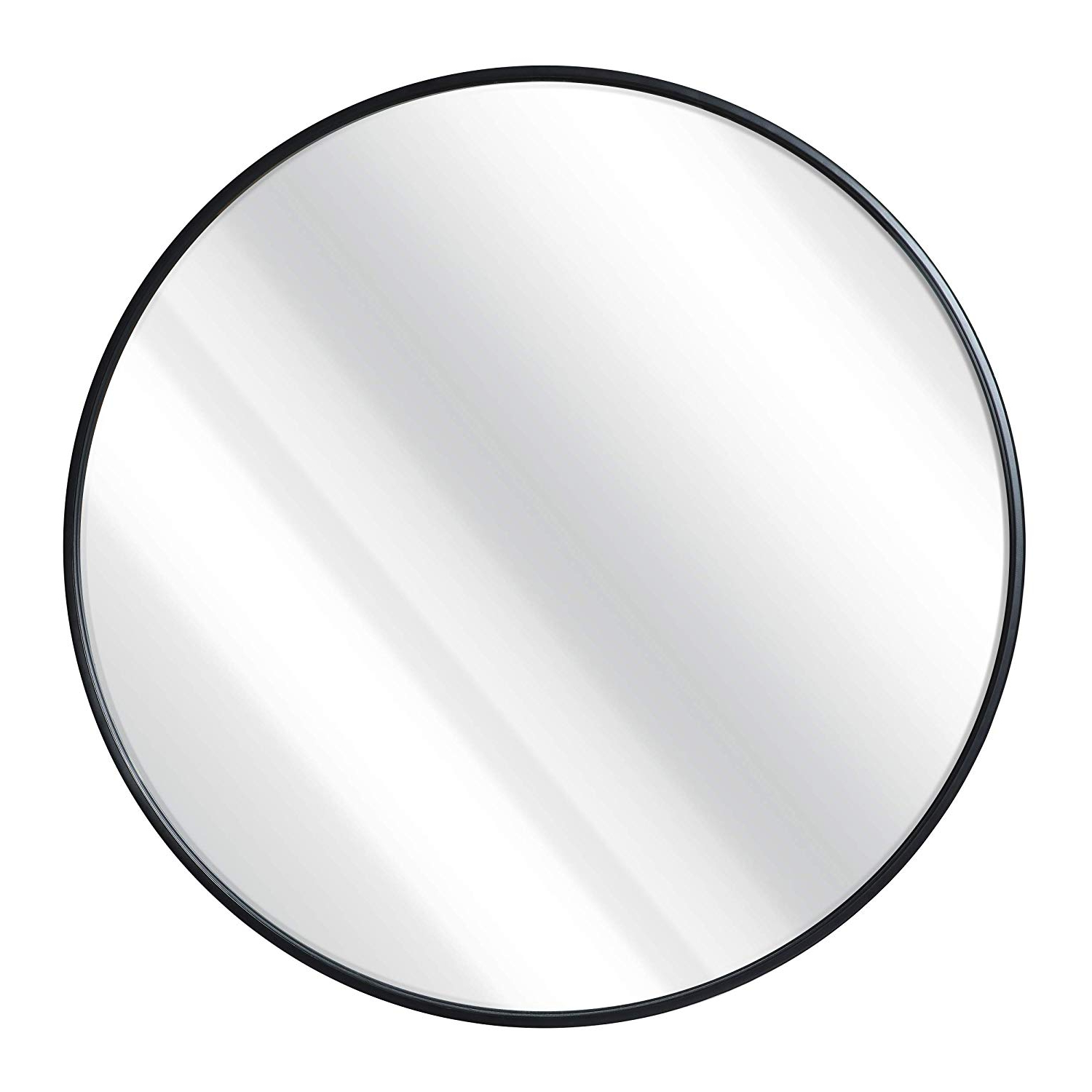 Preferred Black Round Wall Mirrors Regarding Black Round Wall Mirror – 24 Inch Large Round Mirror, Rustic Accent Mirror For Bathroom, Entry, Dining Room, & Living Room (View 2 of 20)