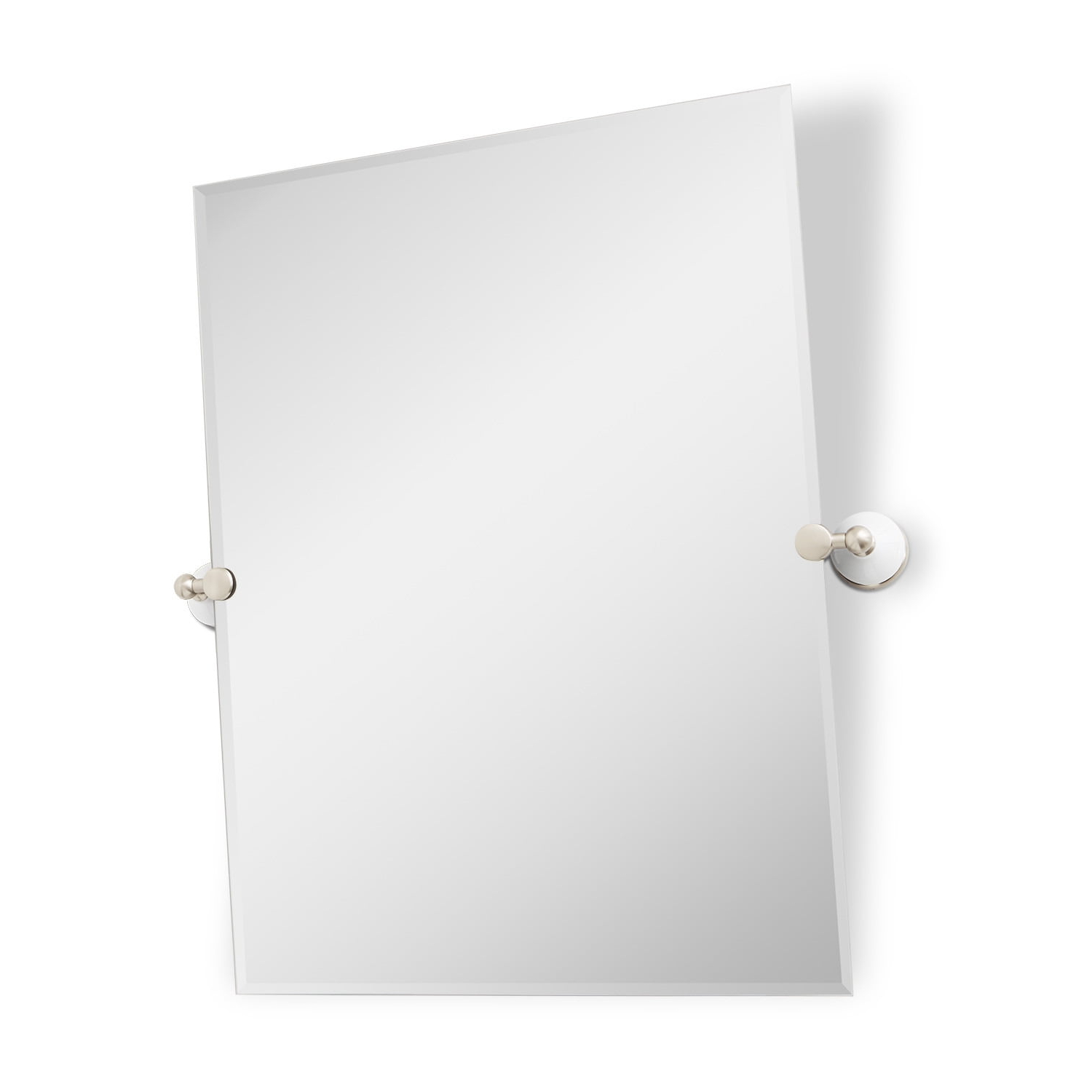 "Preferred Brushed Nickel Wall Mirrors For Bathroom Inside 29"" Houston Rectangular Tilting Mirror (View 18 of 20)"