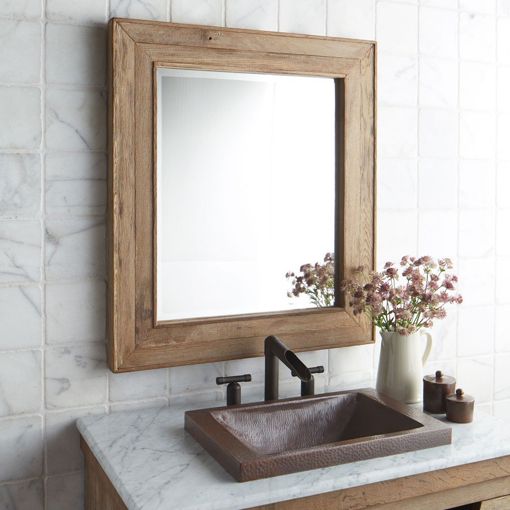 Preferred Chardonnay Rectangular Oak Wood Framed Wall Mirror Intended For Wooden Framed Wall Mirrors (View 6 of 20)