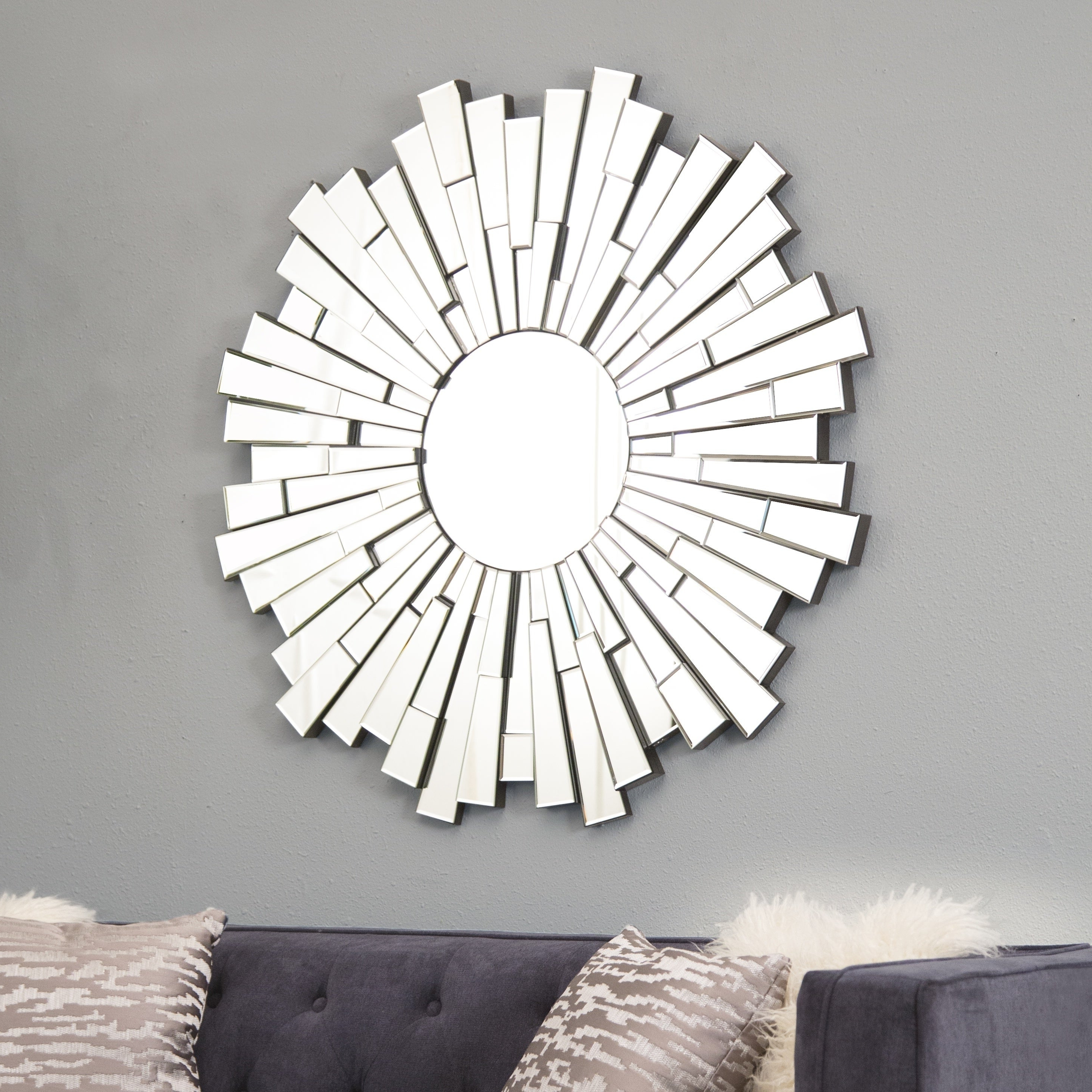Preferred Circular Wall Mirrors Throughout Abbyson Empire Burst Round Wall Mirror – Silver (View 6 of 20)