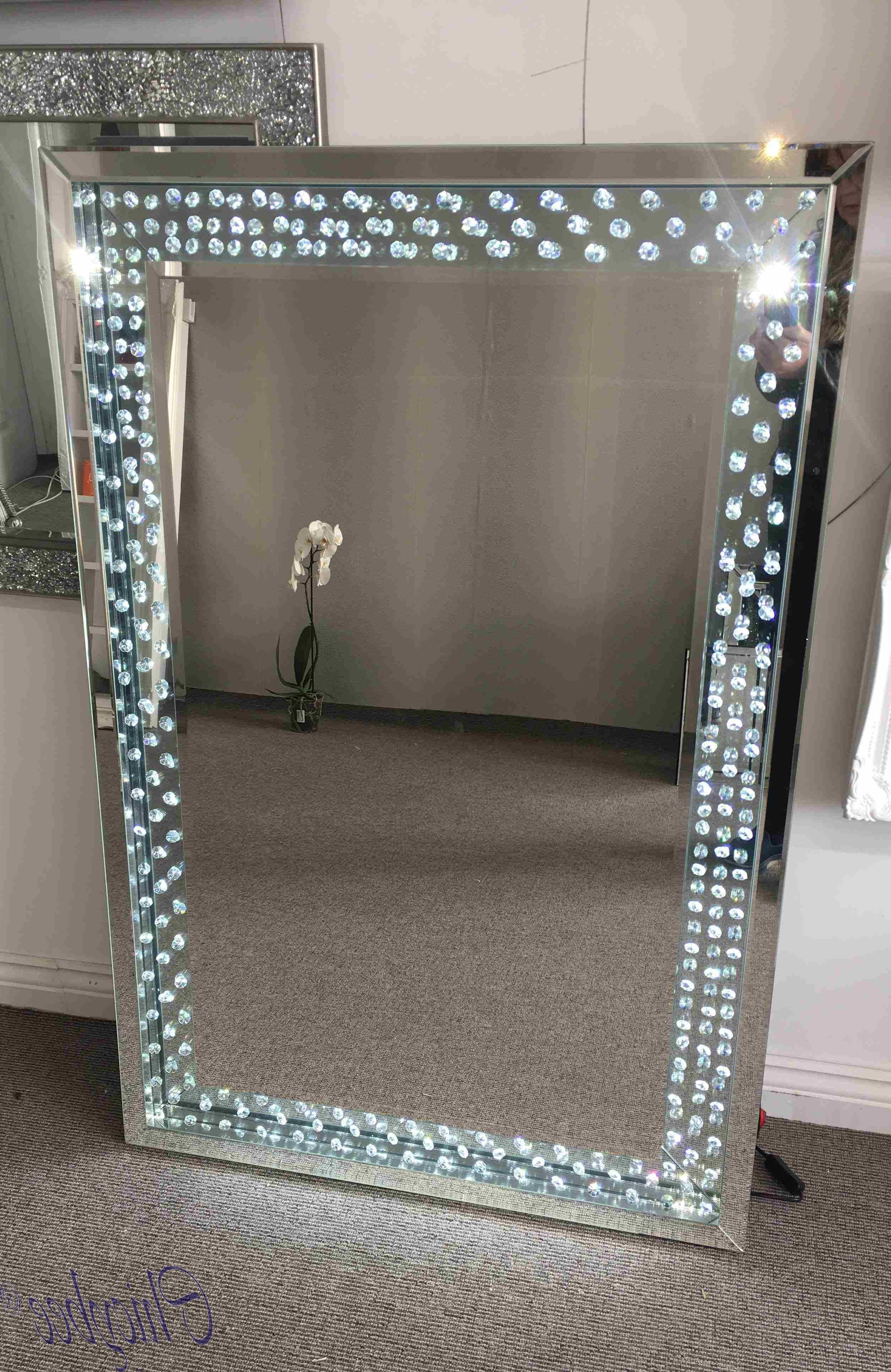 Preferred Crystal Mirror With Sparkling Crystals & Led Lighting Large Wall Regarding Crystal Wall Mirrors (View 19 of 20)