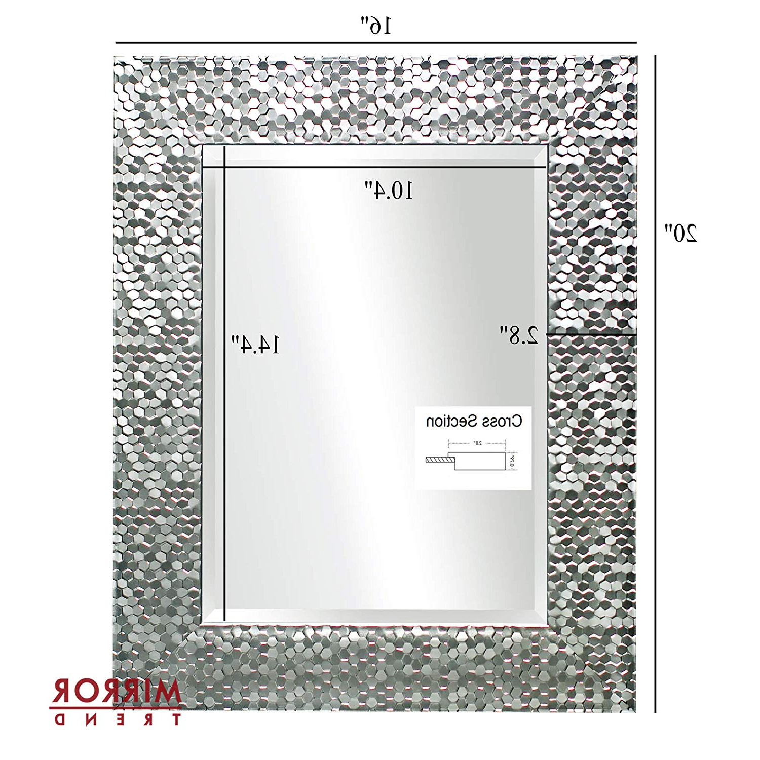 "Preferred Decorative Large Wall Mirrors Regarding Mirror Trend 16"" X 20"" Silver Beveled Mirrors For Wall Mirrors For Living  Room Large Bathroom Mirrors Wall Mounted Mosaic Design Mirror For Wall (View 15 of 20)"