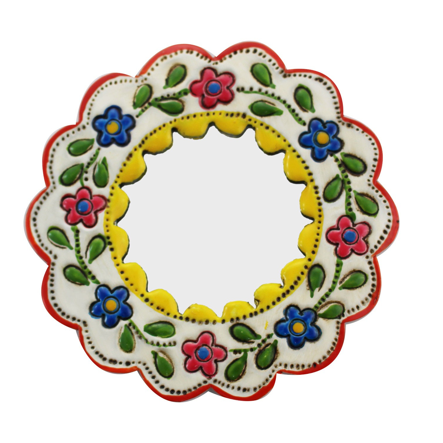 Preferred Decorative Wall Mirror Small Yellow And White – Round Kaufen Inside Small Decorative Wall Mirrors (Gallery 12 of 20)