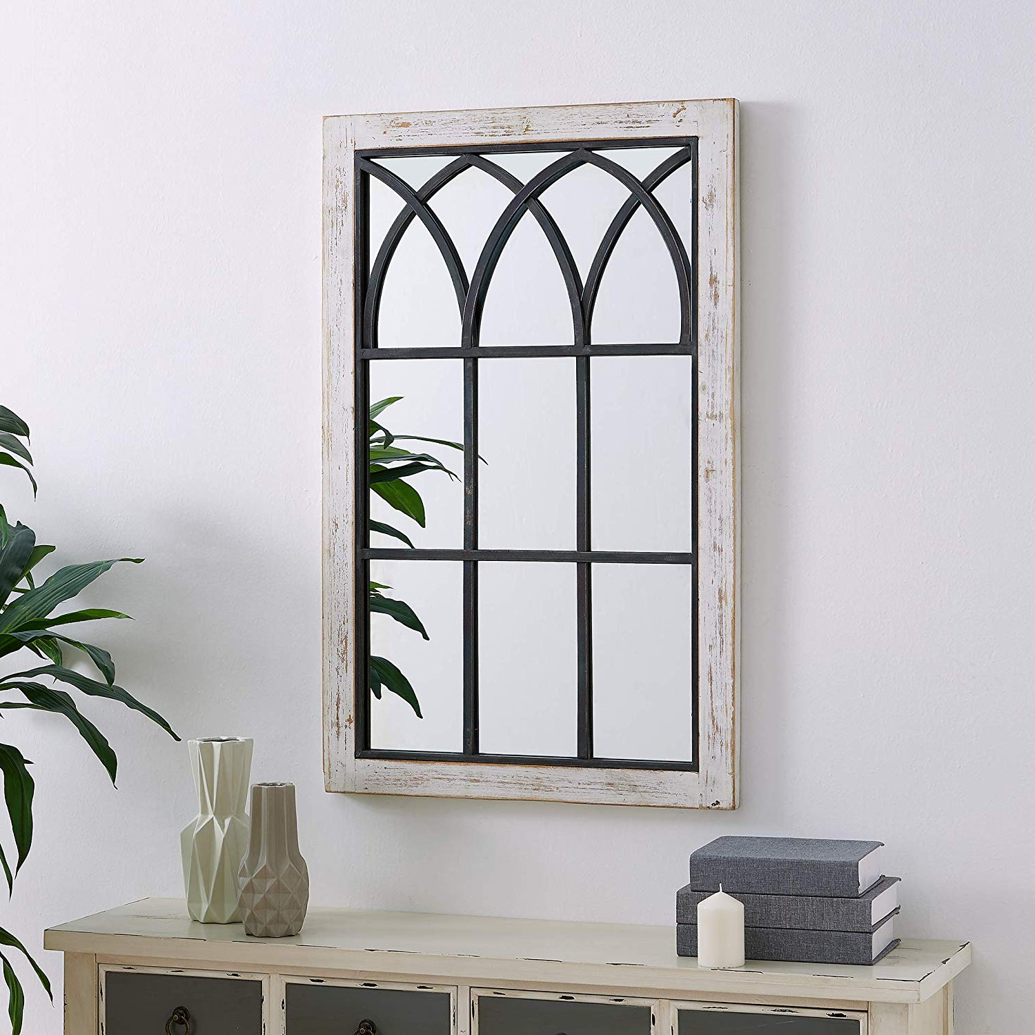 "Preferred Firstime & Co. 70024 Vista Arched Window Accent Wall Mirror, 37.5"" X 24"",  Distressed White Pertaining To Arched Wall Mirrors (Gallery 19 of 20)"